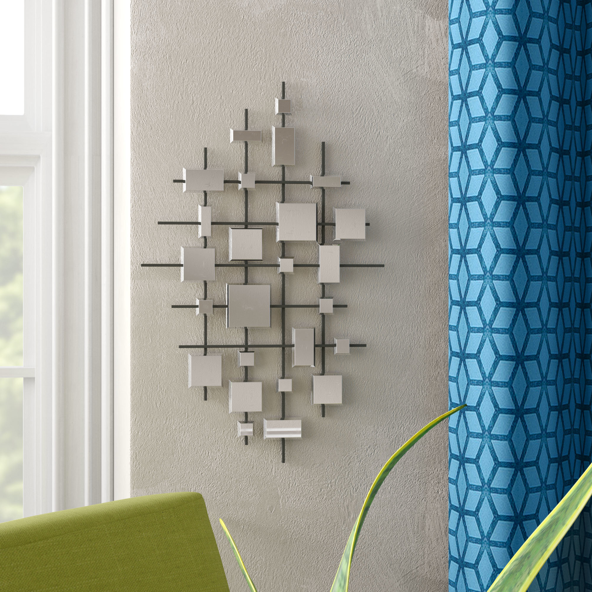 Grid Accent Mirrors Inside Newest Stonebraker Abstract Accent Mirror Set (View 6 of 20)