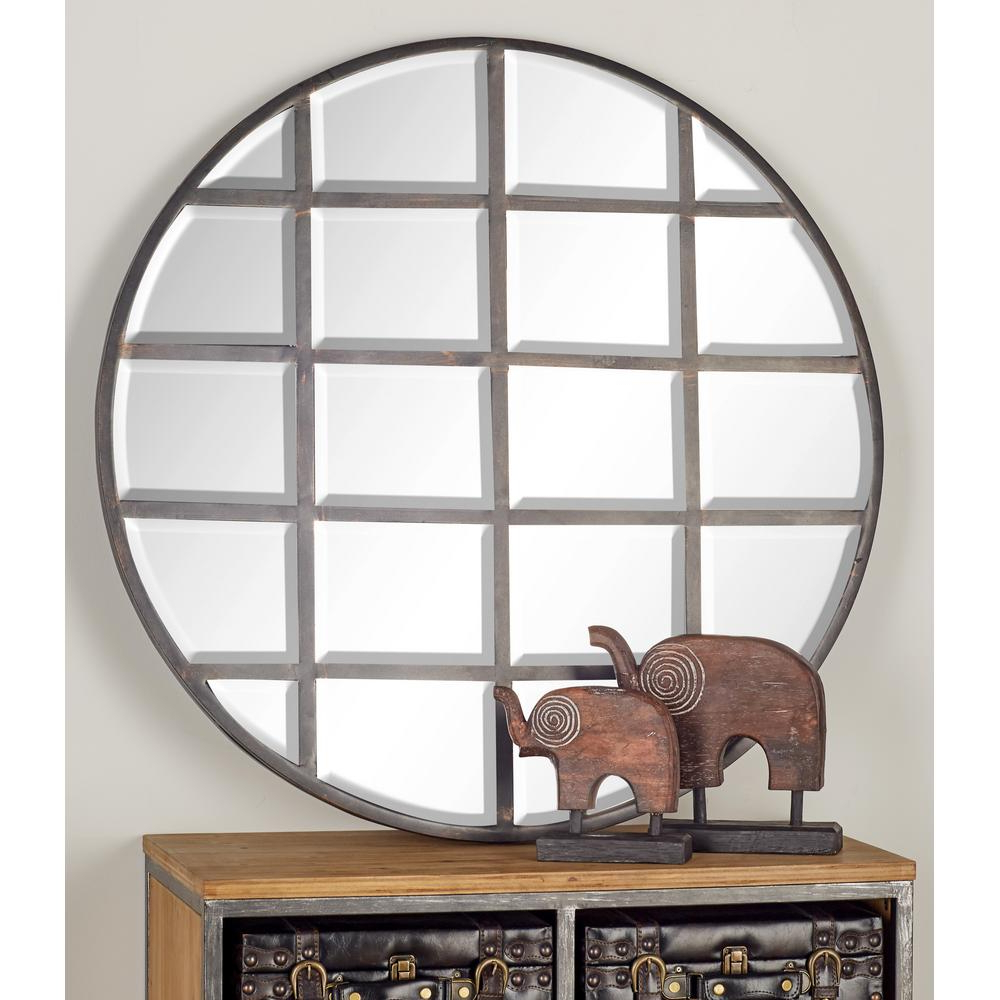 Grid Accent Mirrors Intended For Recent Cosmolivingcosmopolitan 36 In. Round Silver Decorative Wall (Gallery 10 of 20)