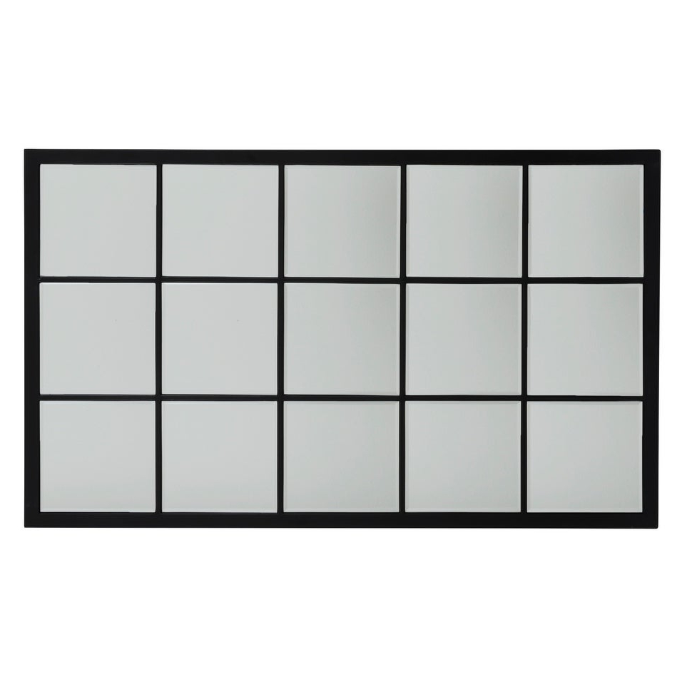Grid Accent Mirrors Pertaining To Popular Large Rectangle Metal Grid Mirror With Paned Beveled Glass – Black (View 8 of 20)