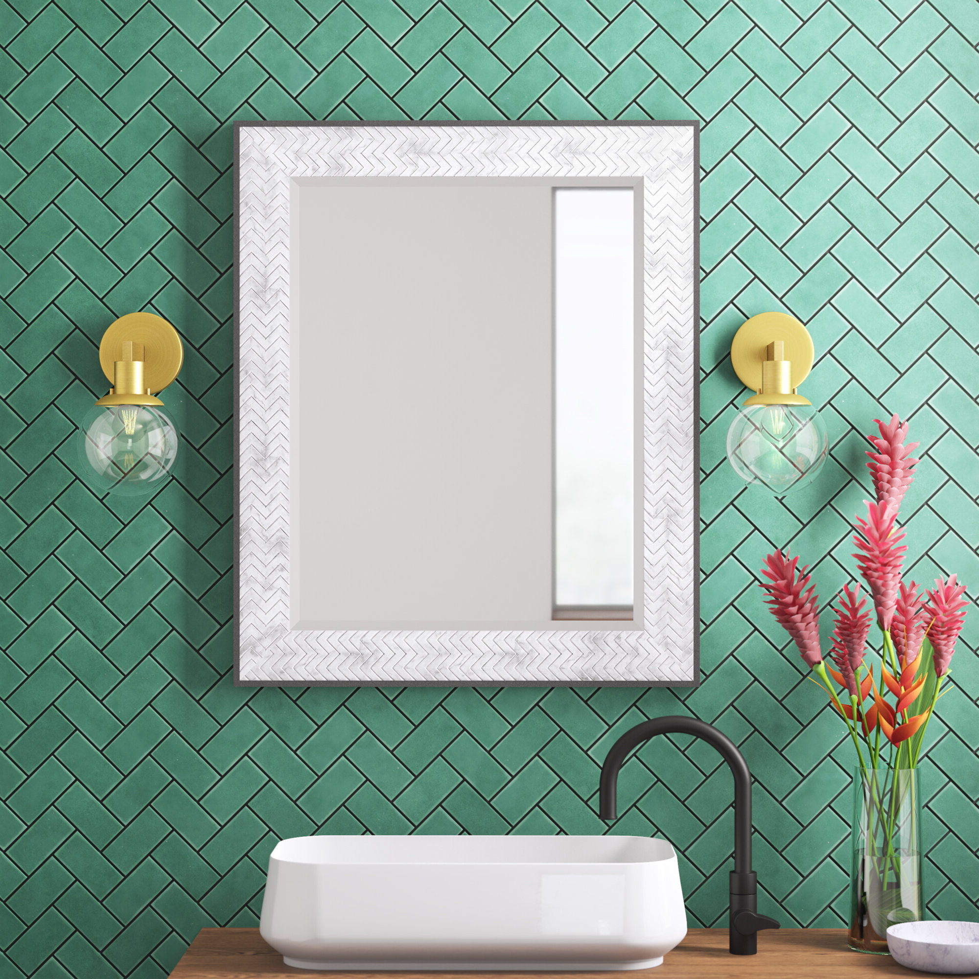 Haak Chevron Vanity Mirror In Most Current Kist Farmhouse Wall Mirrors (Gallery 11 of 20)