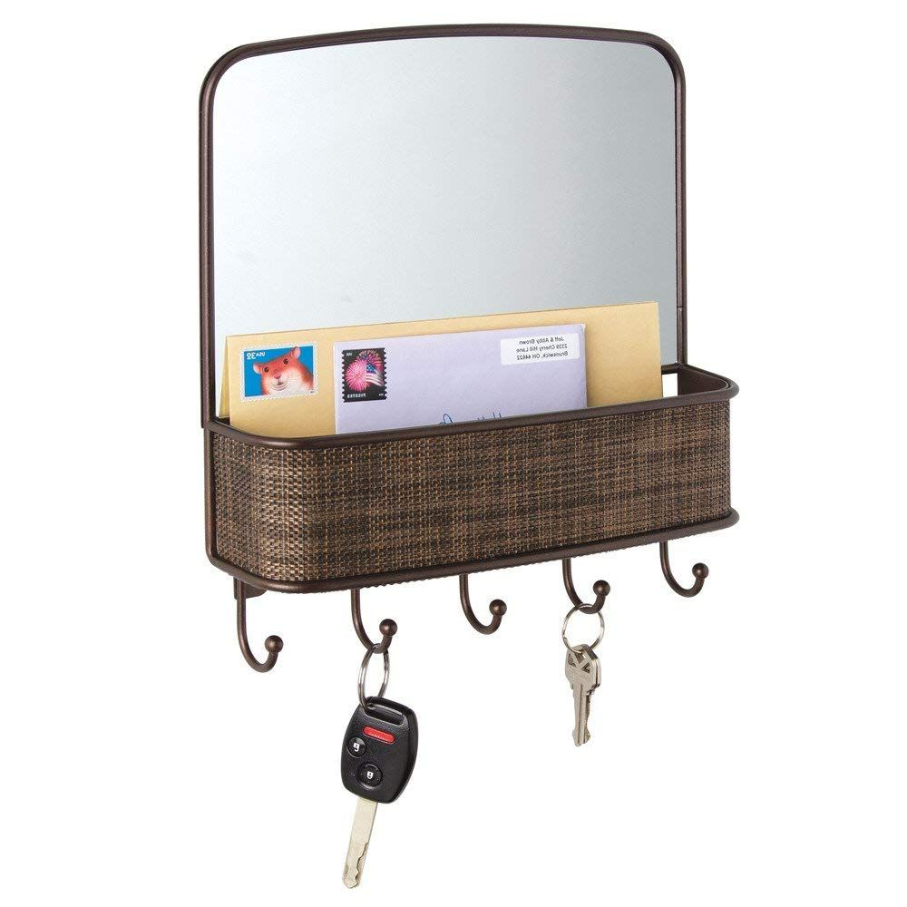 Hallas Wall Organizer Mirrors Intended For Well Liked Mirror With Mail Holder And Key Rack Organizer For Hallway, Kitchen (View 3 of 20)