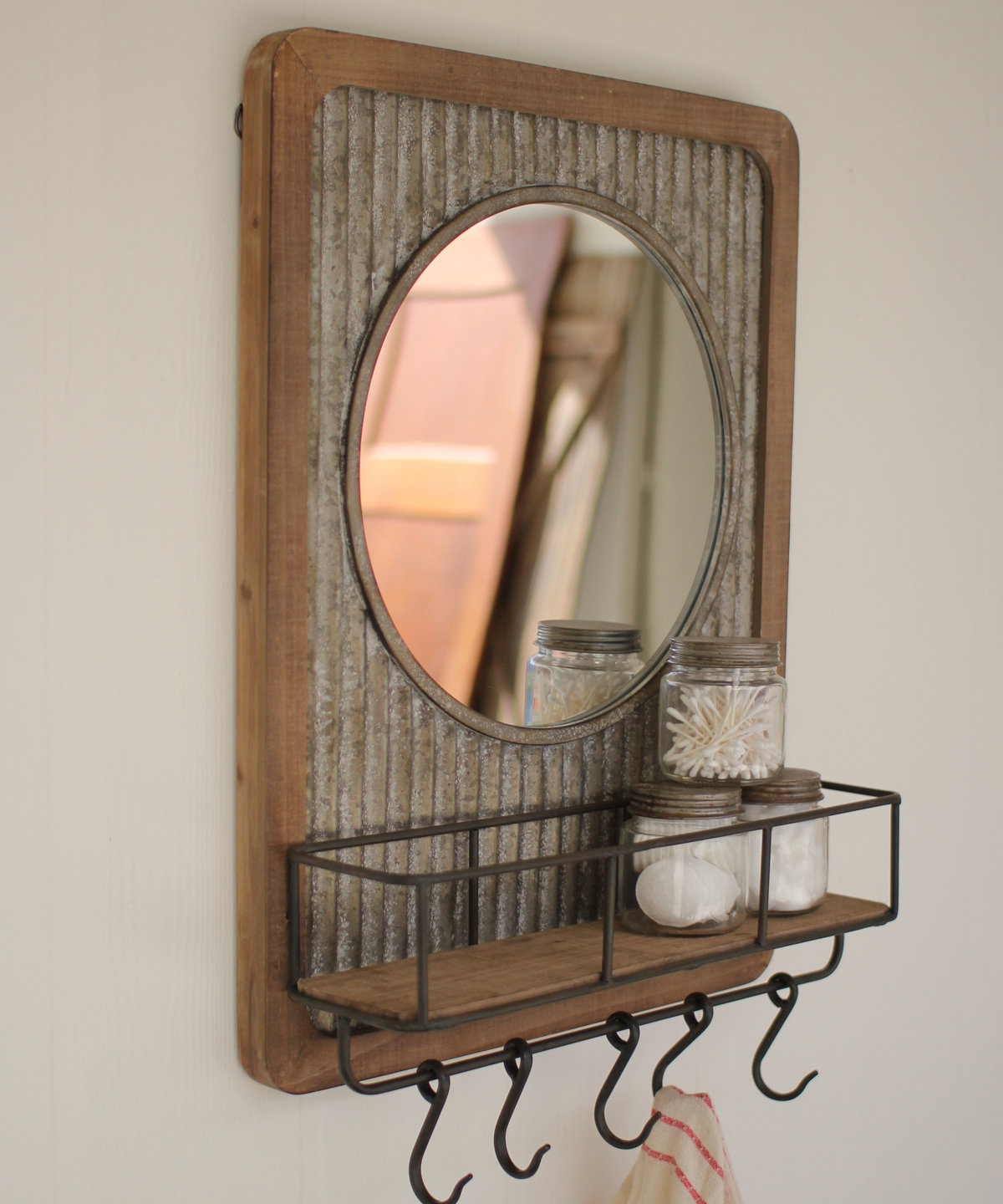 Hallas Wall Organizer Mirrors Pertaining To Most Current Adalheid Corrugated Wood Shelf Accent Mirror (View 8 of 20)