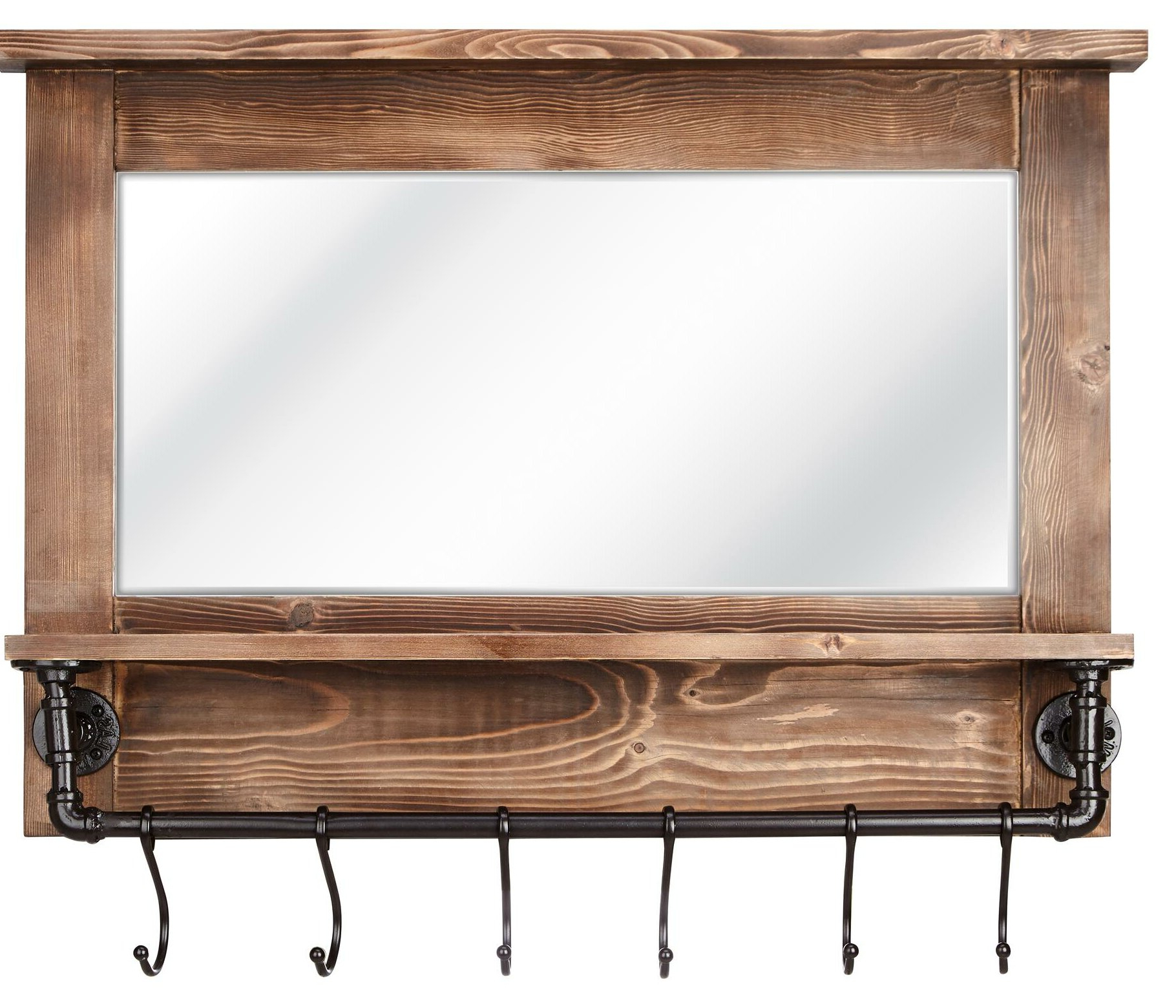 Hallas Wall Organizer Mirrors Pertaining To Well Known Gracie Oaks Carrico Rustic Beveled With Shelves Wall Mirror (View 6 of 20)
