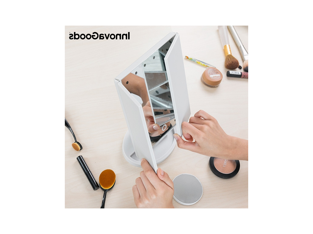 Hallas Wall Organizer Mirrors Within Best And Newest Magnifying 4 In 1 Led Mirror For 360º Rotation Makeup And Touch Button To Activate, Innovagoods V (View 19 of 20)