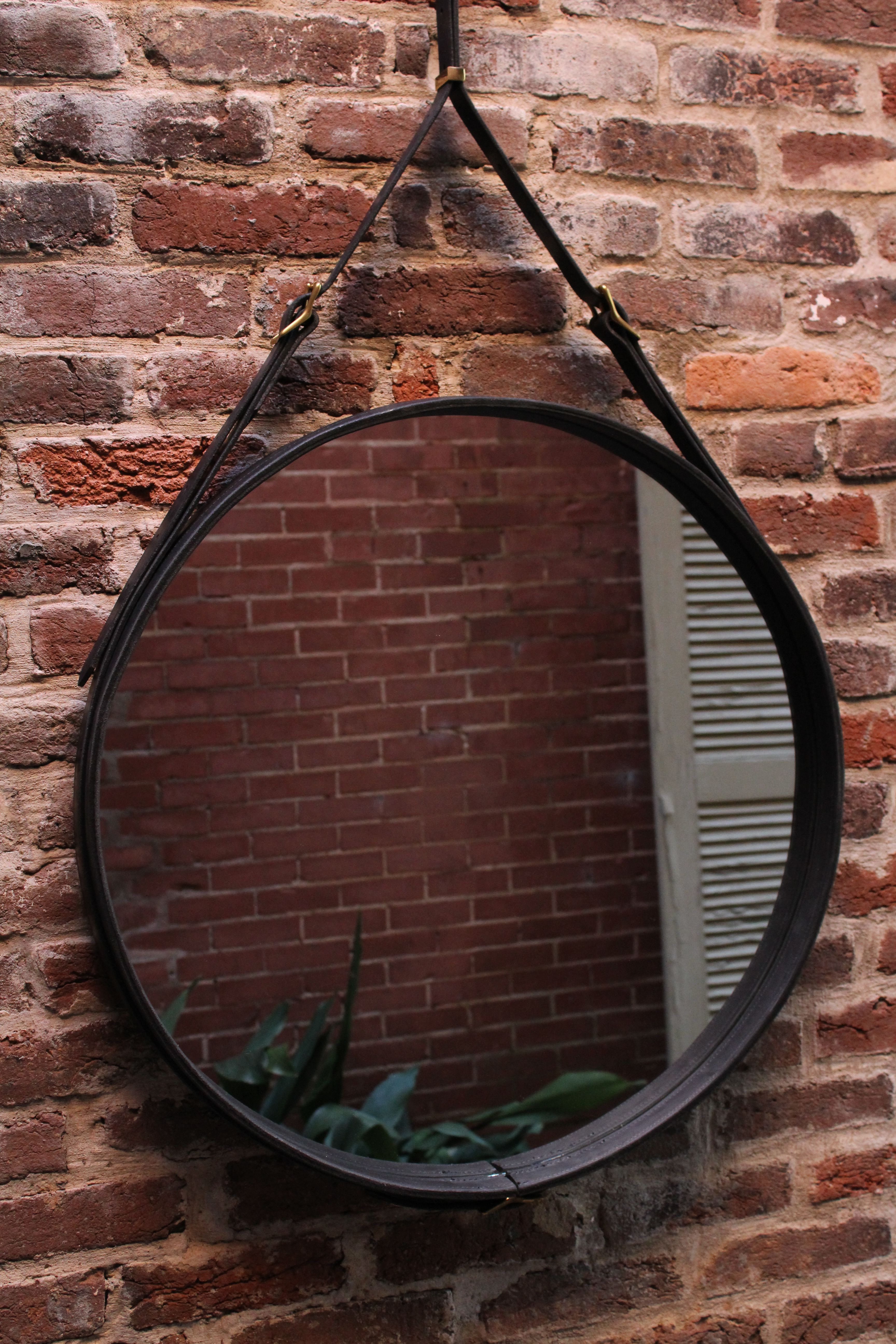 Hand Crafted Leather Strap Round Wall Mirrortennesee Handmade With Most Up To Date Leather Wall Mirrors (View 2 of 20)