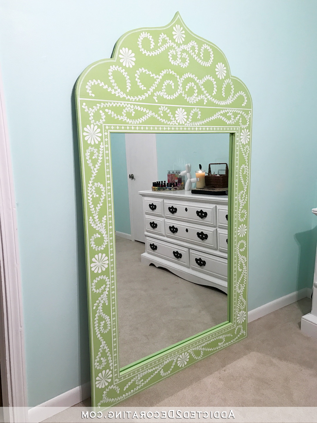 Hand Painted Wall Mirrors Pertaining To Most Popular Diy Hand Painted Framed Full Length Mirror – Addicted 2 Decorating® (Gallery 18 of 20)