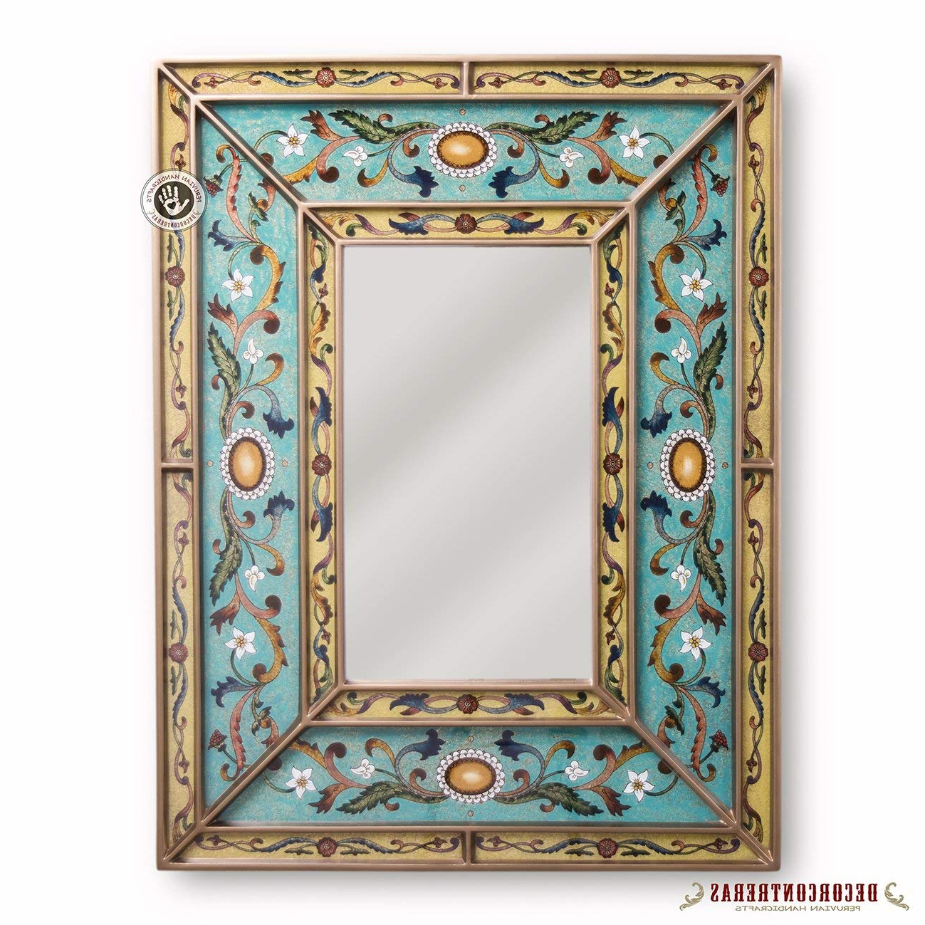 Hand Painted Wall Mirrors Pertaining To Most Up To Date Amazon: Peruvian Decorative Mirror, Arts Crafts Mirror Wall (View 7 of 20)