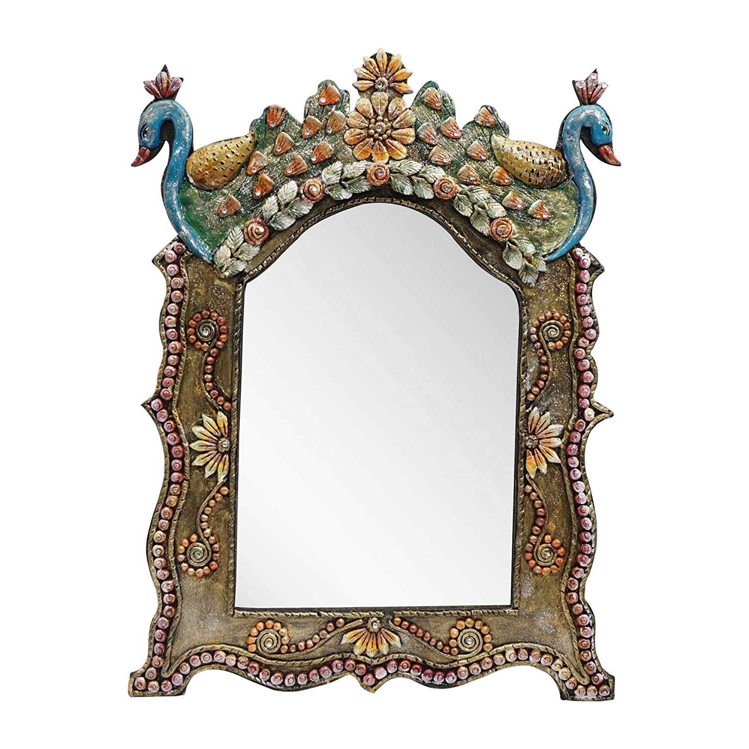 Hand Painted Wall Mirrors Within Current Amazon: 999Store Wooden Hand Crafted Handmade Painted Decorative (Gallery 3 of 20)