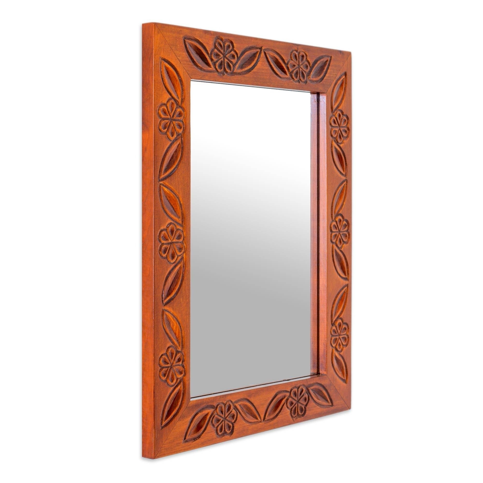 Handmade Pinewood 'rustic Apple Blossoms' Wall Mirror (Guatemala) – Orange Regarding Current Orange Wall Mirrors (View 10 of 20)