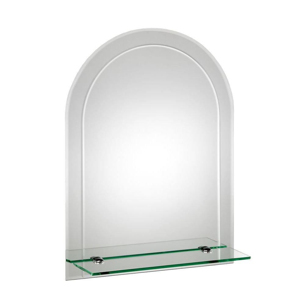Hanging Wall Mirrors For Bathroom Within Current Croydex 18 In. X 24 In. Fairfield Beveled Edge Arch Wall Mirror With Shelf  And Hang 'n' Lock Easy Hanging System (Gallery 7 of 20)