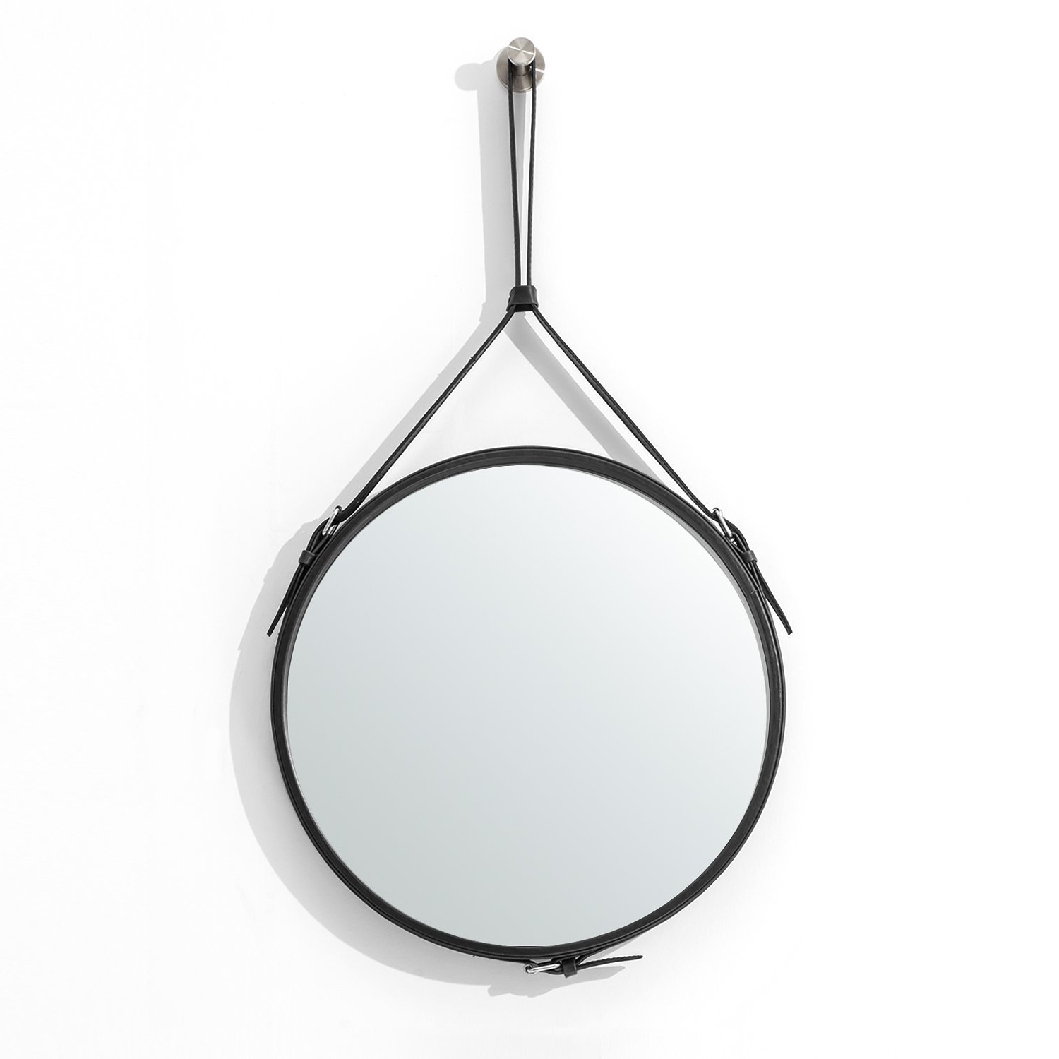 Hanging Wall Mirrors Within Best And Newest Ranslen Decorative Hanging Wall Mirror 15 Inch Round Rustic Wall Mirror  With Hanging Strap For Bathroom/bedroom/living Room Home Decor (Black) (Gallery 4 of 20)