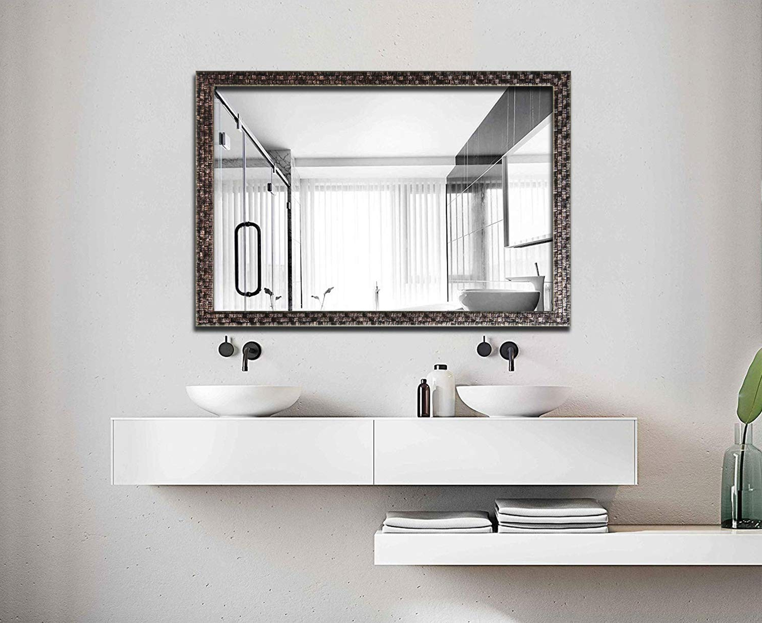 Hans&alice Beveled Bathroom Mirrors Wall Mounted, Modern Framed Mirror For  Bathroom, Bedroom, Living Room Hanging Horizontal Or Vertical Commercial Intended For Well Known Mirror Framed Wall Mirrors (Gallery 13 of 20)