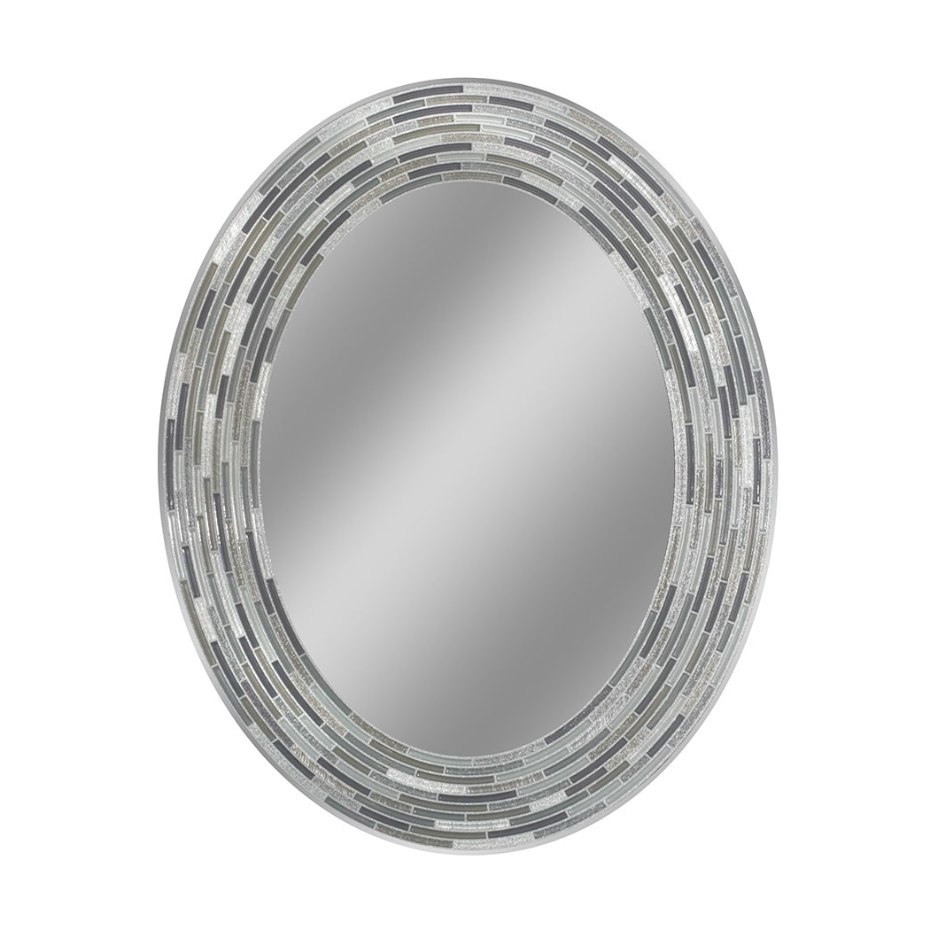 Headwest Inc Headwest Reeded Charcoal Tiles Oval Wall Mirror – Black/grey – 23 X 29 With Most Current Black Oval Wall Mirrors (View 19 of 20)