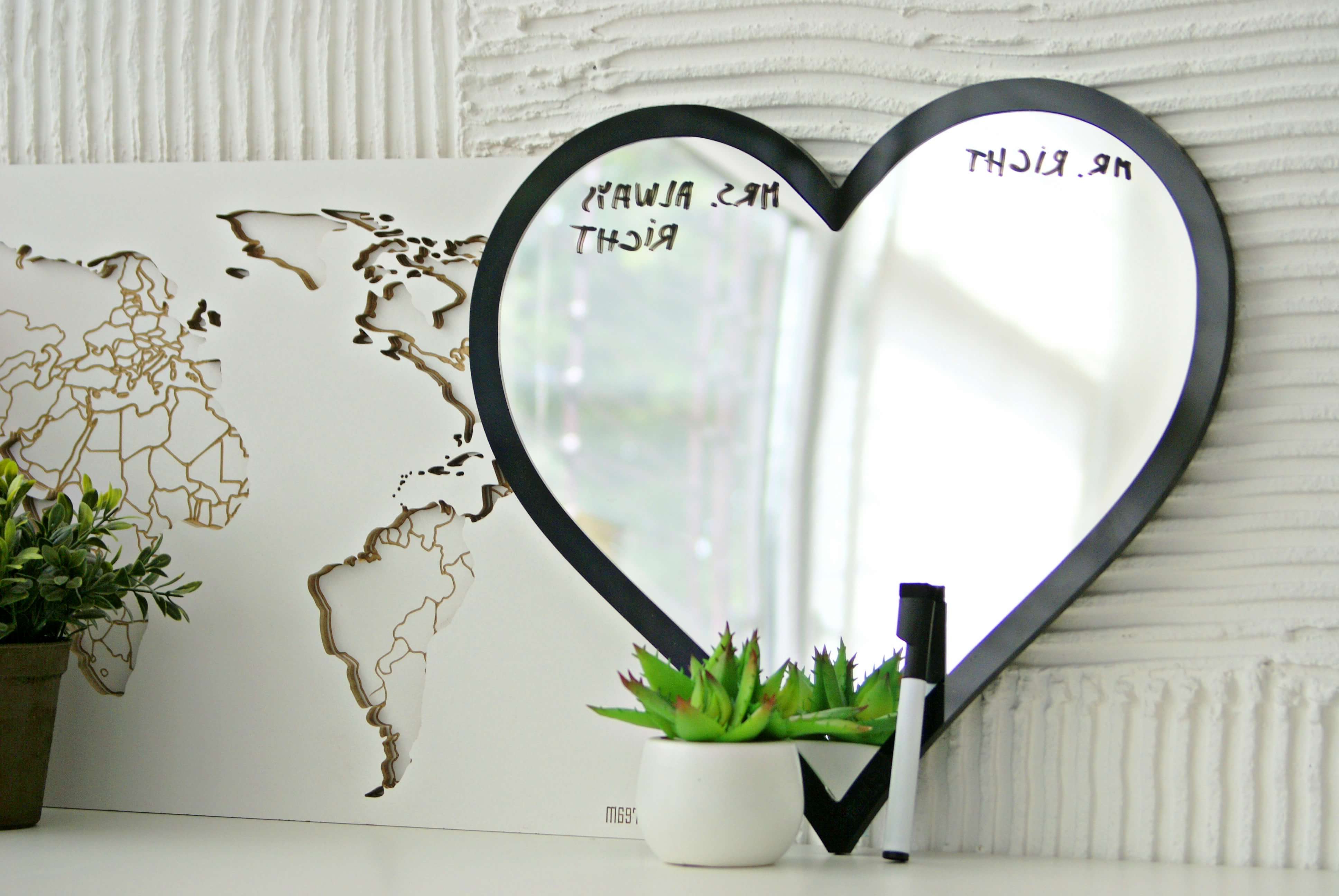 Heart Mirror – Black Frame – (View 7 of 20)