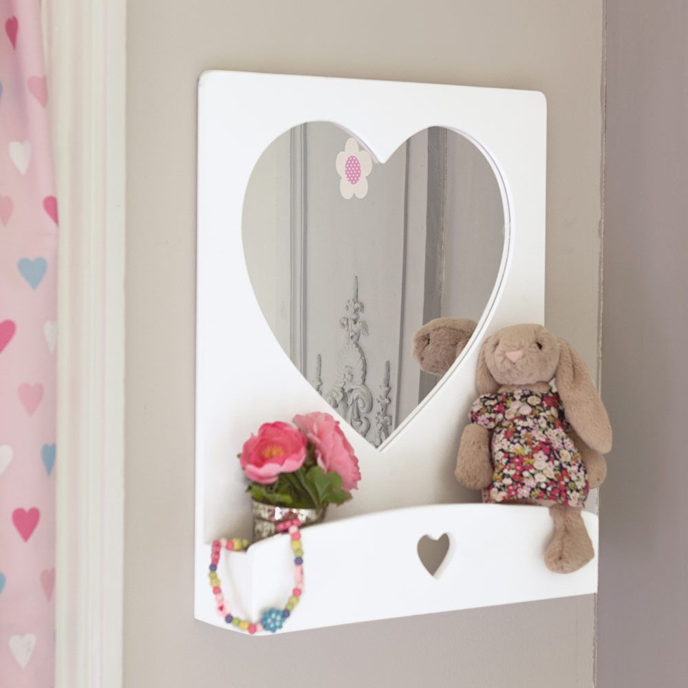 Heart Mirror, Lighted Wall Mirror, Wall Within Most Recent Childrens Wall Mirrors (View 2 of 20)