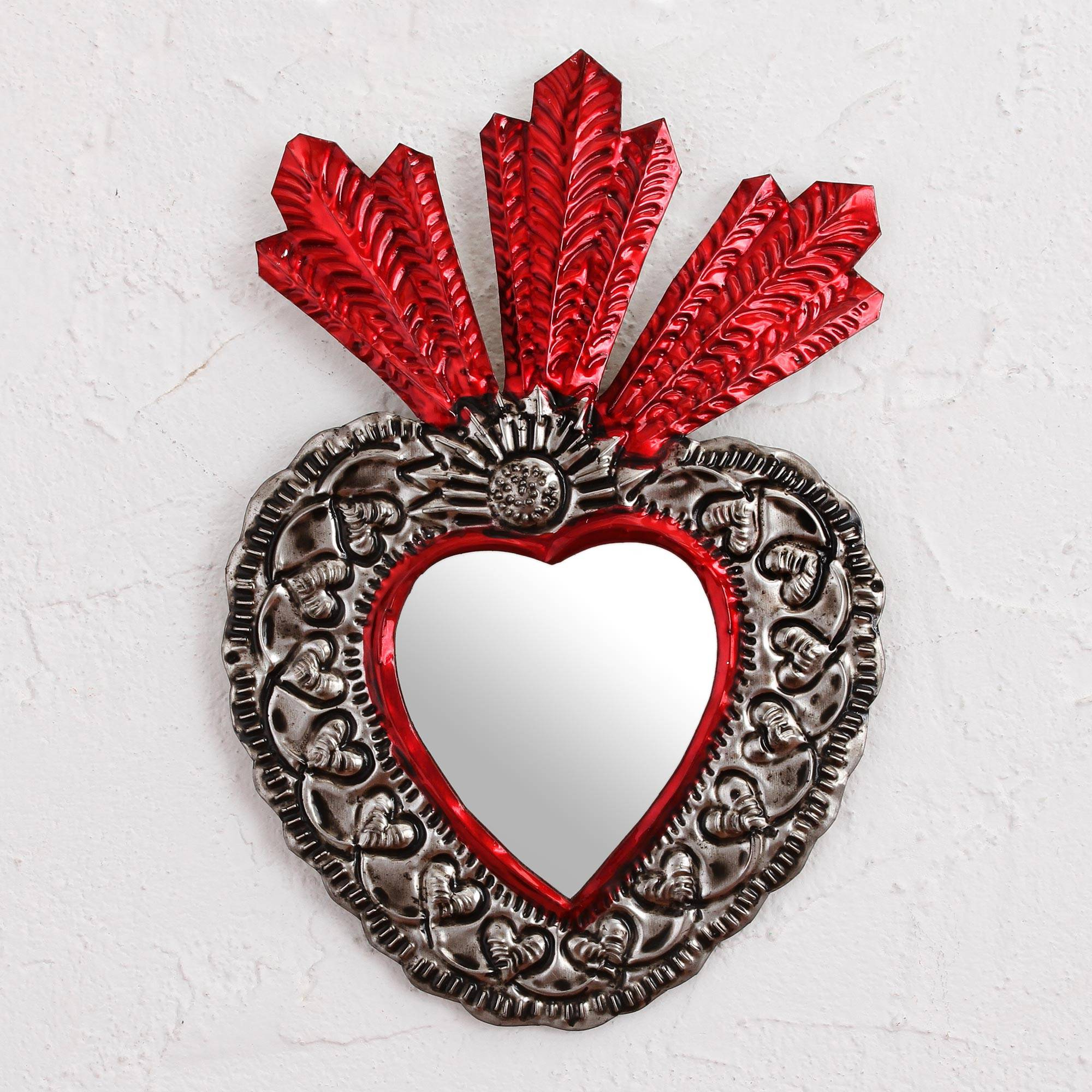 Heart Shaped Wall Mirrors With Regard To Trendy Handmade Heart Shaped Tin Wall Mirror From Mexico, 'my Heart's Reflection' (View 19 of 20)