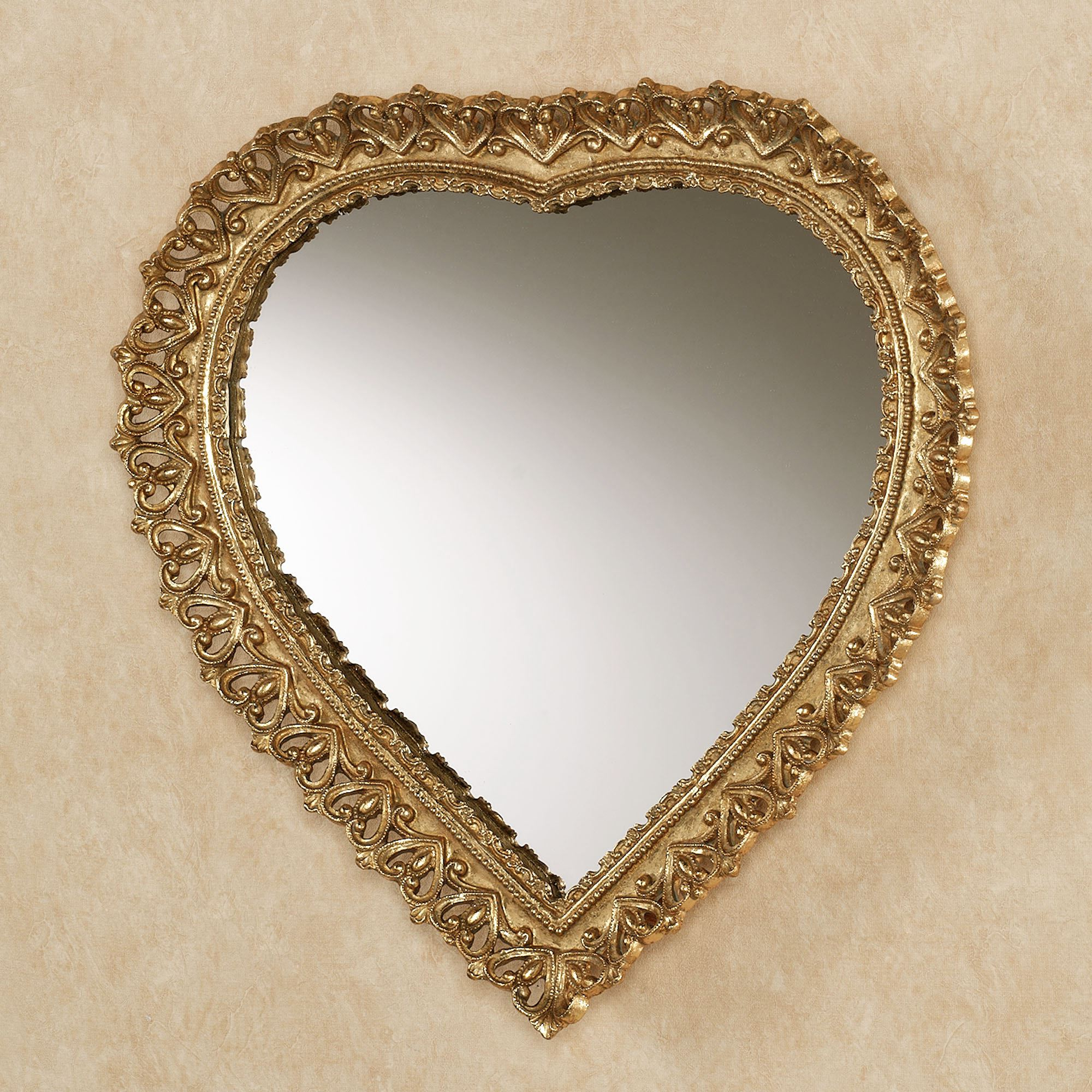 Heart Shaped Wall Mirrors Within Preferred Carenda Gold Heart Shaped Wall Mirror (View 6 of 20)