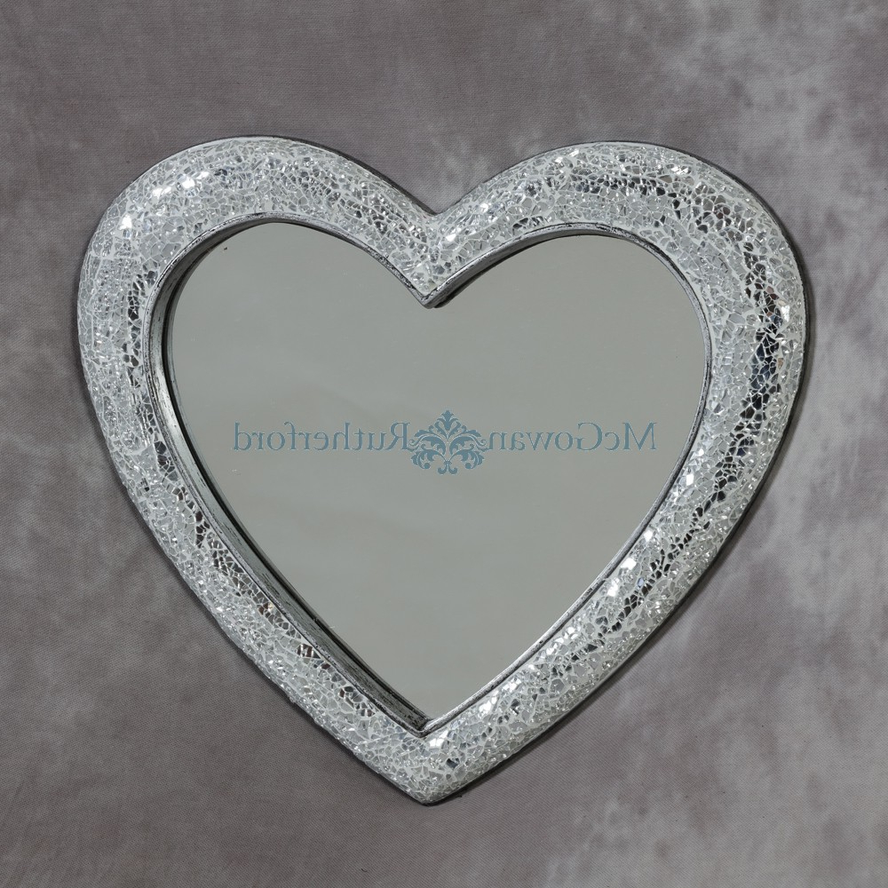 Heart Wall Mirrors In Favorite Small Mosaic Crackle Glass Heart Wall Mirror – Small Mirrors (View 20 of 20)