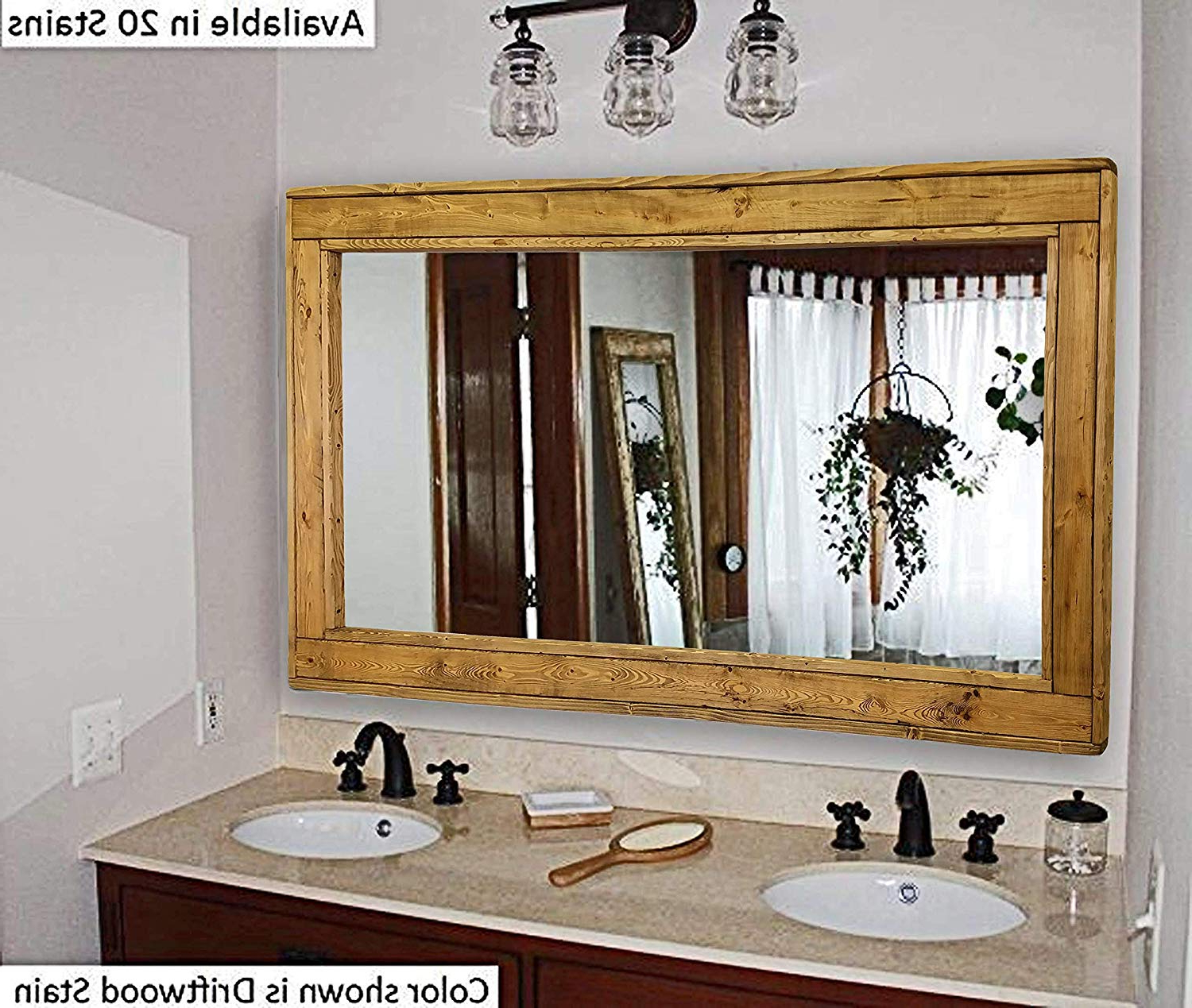 Herringbone Large Mirror Double Vanity Mirror, Available In 20 Colors: Shown In Driftwood – Reclaimed Wooden Framed Mirror – Ex Large Wall Mirror – Pertaining To Famous Large Wall Mirrors With Wood Frame (View 12 of 20)