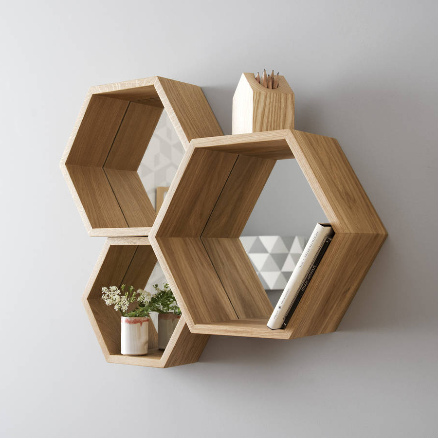 Hexagon Wall Mirrors Intended For Current Hexagon Mirror Shelves (Gallery 10 of 20)