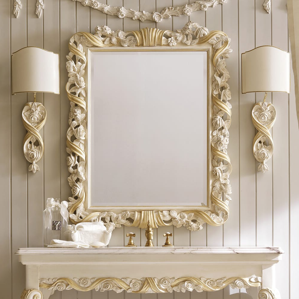 High End Italian Rose And Ribbon Wall Mirror For Most Up To Date High End Wall Mirrors (View 19 of 20)