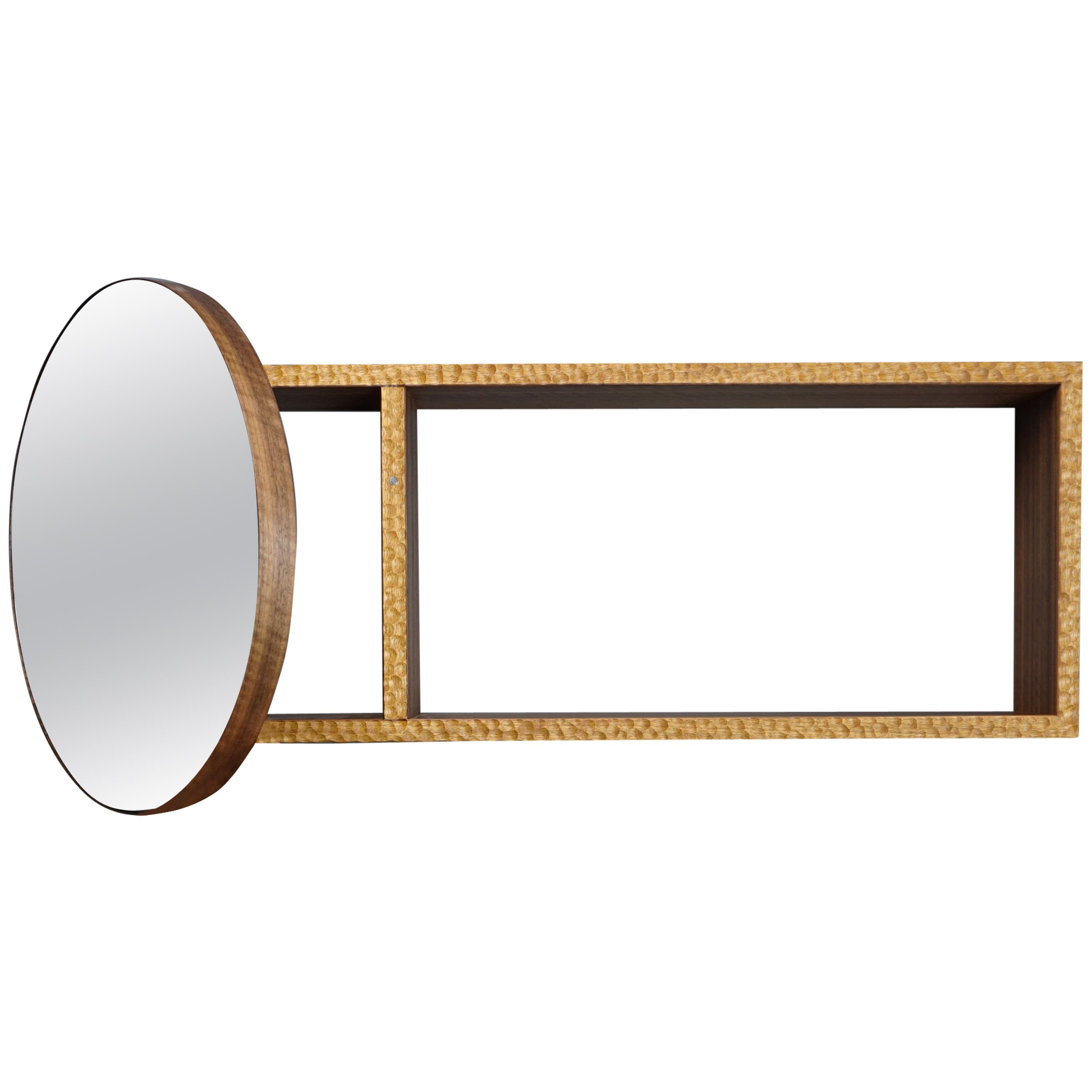 Hinged Wall Mirrors Within Most Popular Textured Cabinet With Mirror Door, Iroko And Walnut, Designedmax  Frommeld (Gallery 10 of 20)