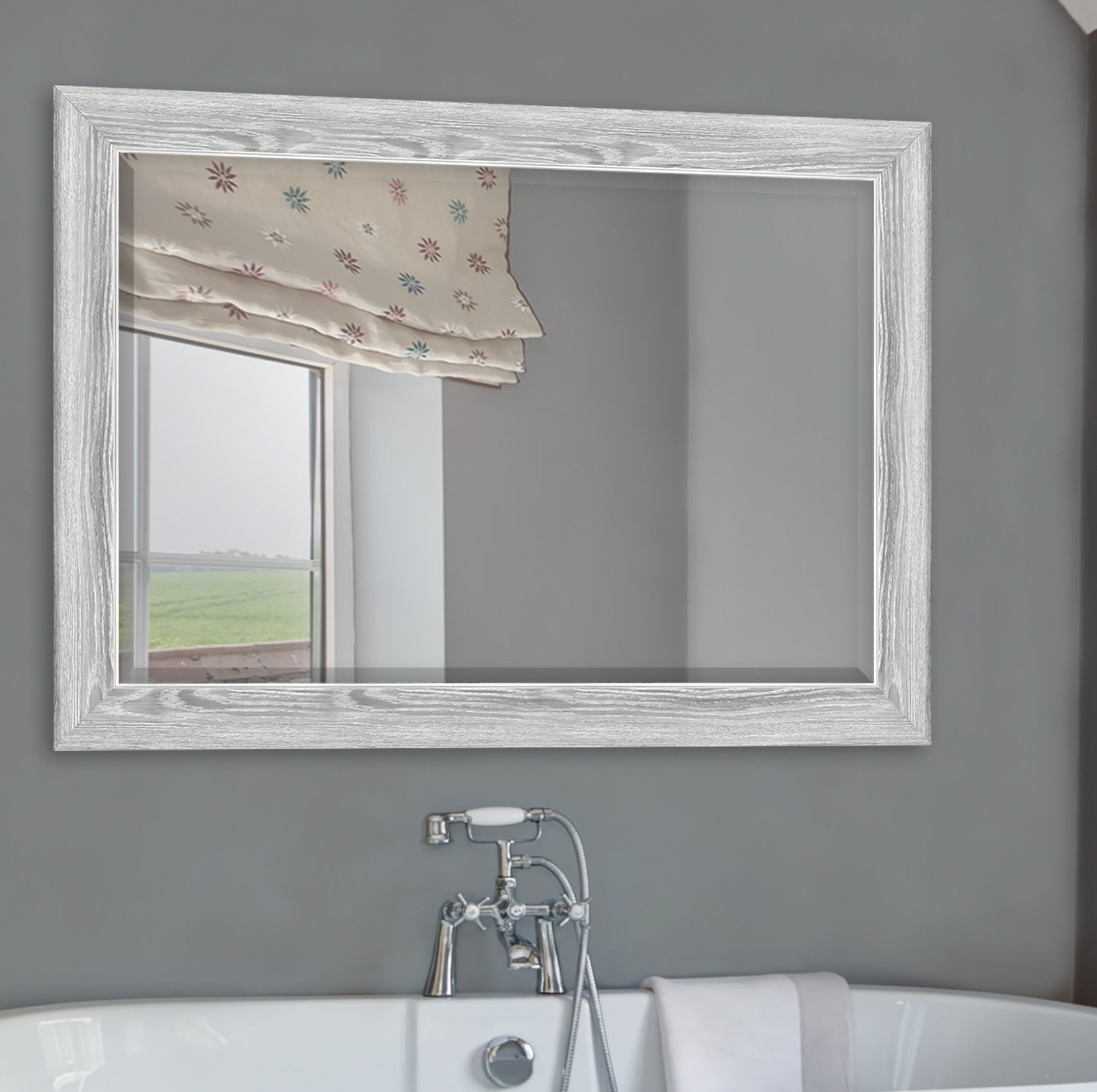 Hogge Modern Brushed Nickel Large Frame Wall Mirrors With Most Popular Yeung Curvature Bathroom/vanity Mirror (Gallery 9 of 20)