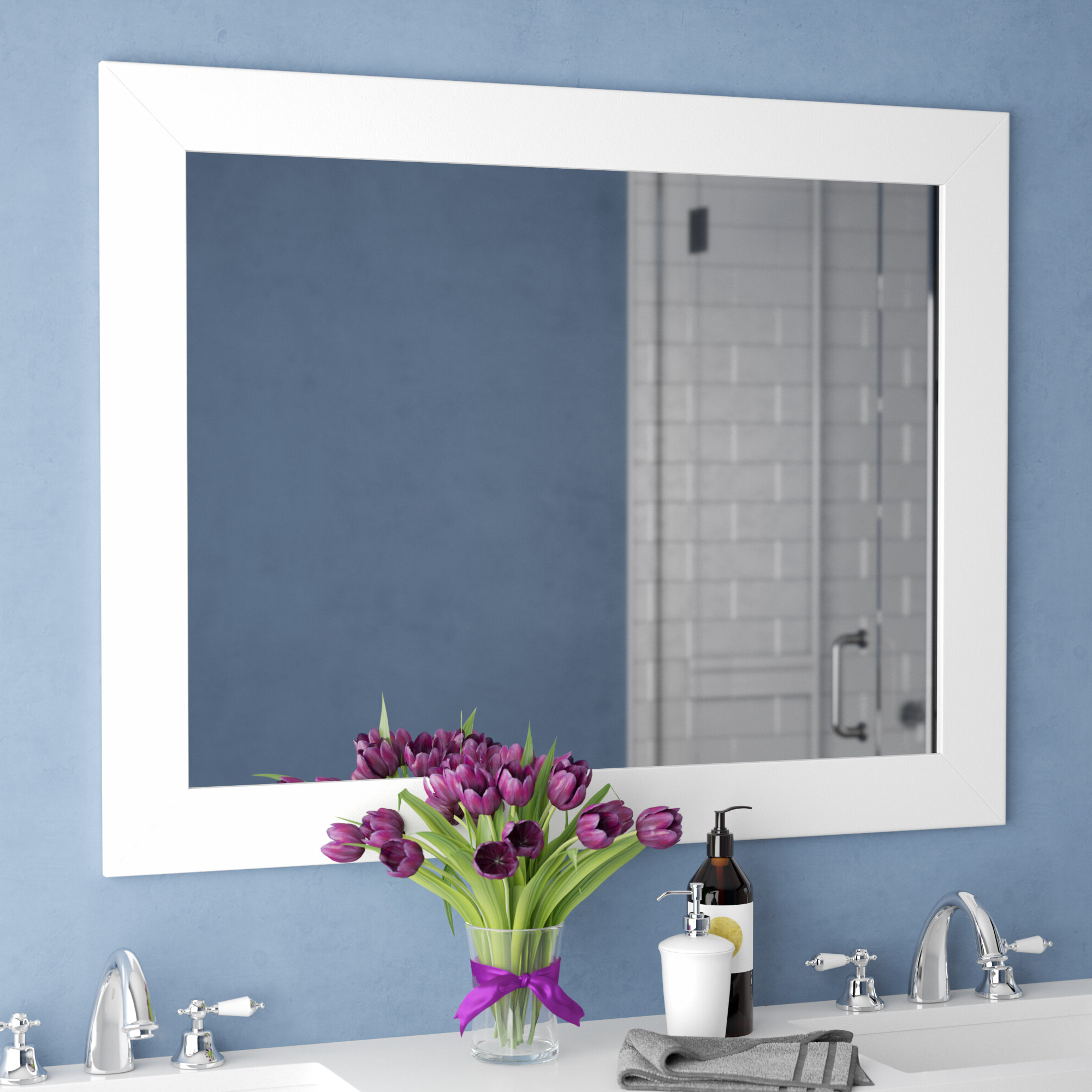 Hogge Modern Brushed Nickel Large Frame Wall Mirrors With Regard To Most Current Kanisha Bathroom/vanity Mirror (View 13 of 20)