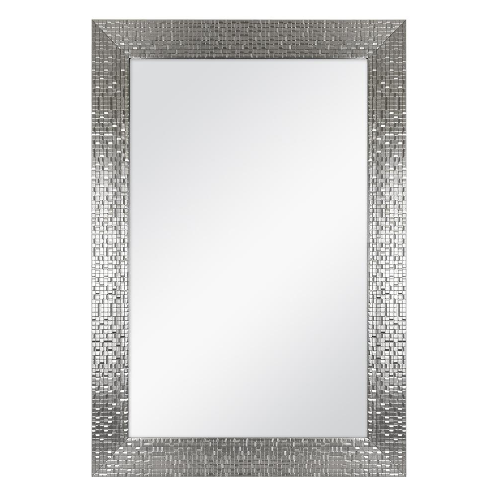 Home Decorators Collection 24 In. W X 35 In. L Framed Fog Free Wall Mirror In Silver Inside Latest Mosaic Framed Wall Mirrors (Gallery 14 of 20)
