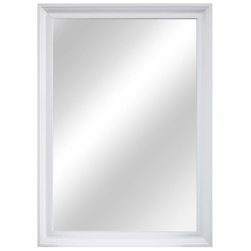 Home Decorators Collection 29 In. W X 40 In. L Framed Fog Free Wall Mirror  In White Regarding Trendy White Frame Wall Mirrors (Gallery 7 of 20)
