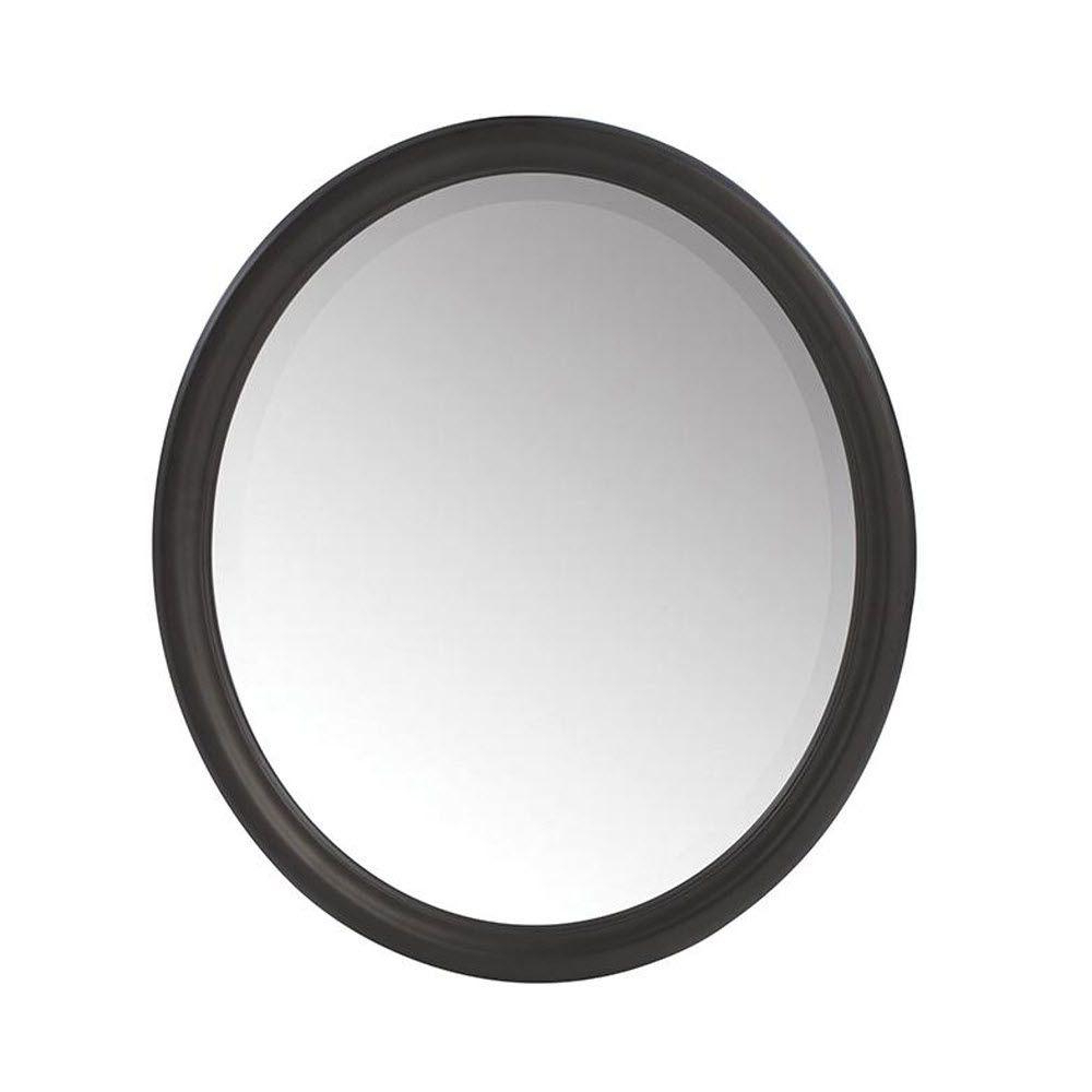 Home Decorators Collection Newport 32 In. H X 28 In. W Framed Wall Mirror  In Black Inside Fashionable Pfister Oval Wood Wall Mirrors (Gallery 15 of 20)