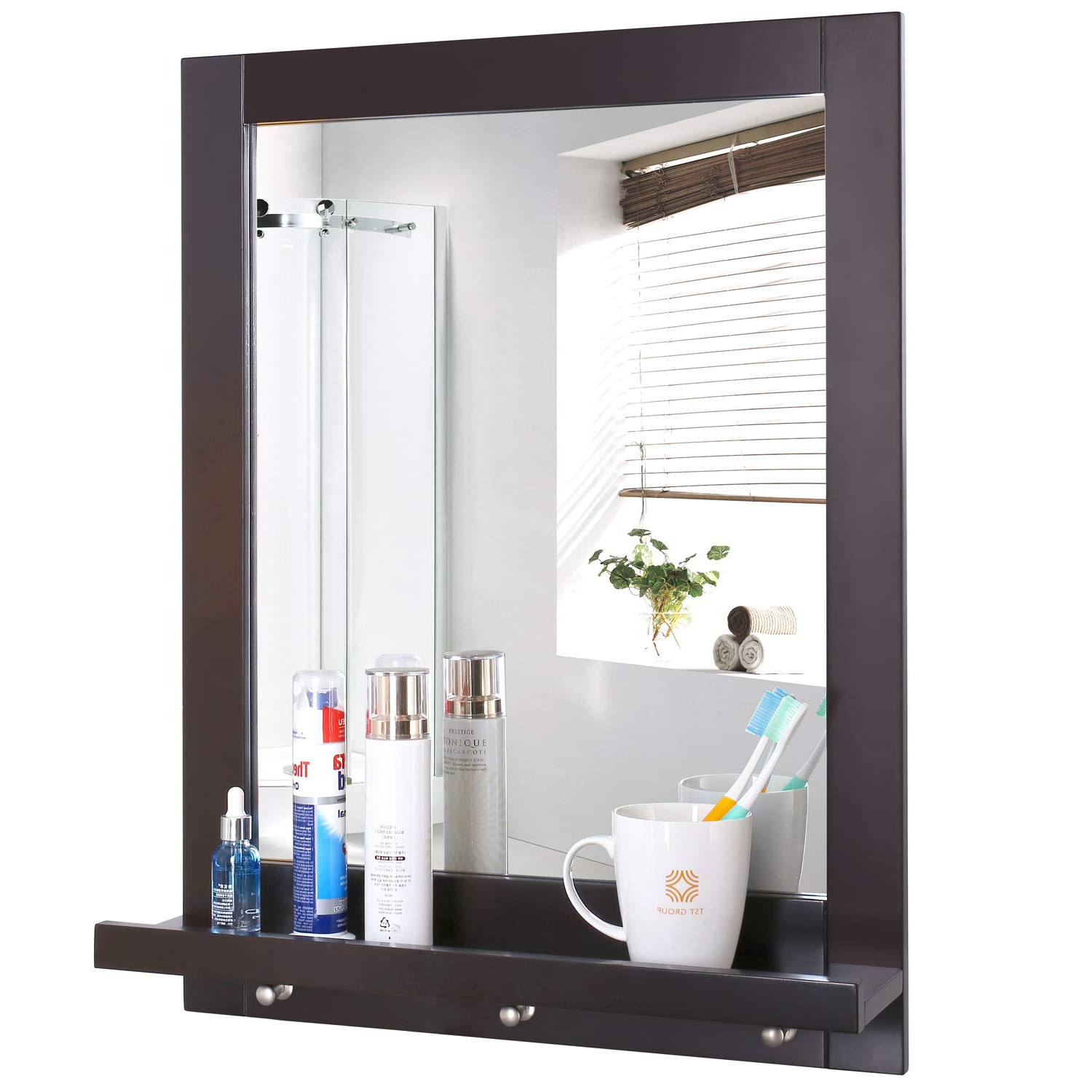 Homfa Bathroom Wall Mirror Vanity Mirror Makeup Mirror Framed Mirror With Shelf And 3 Hanging Hooks Multipurpose For Home, Dark Brown Regarding Most Popular Wall Mirrors With Shelf (Gallery 15 of 20)
