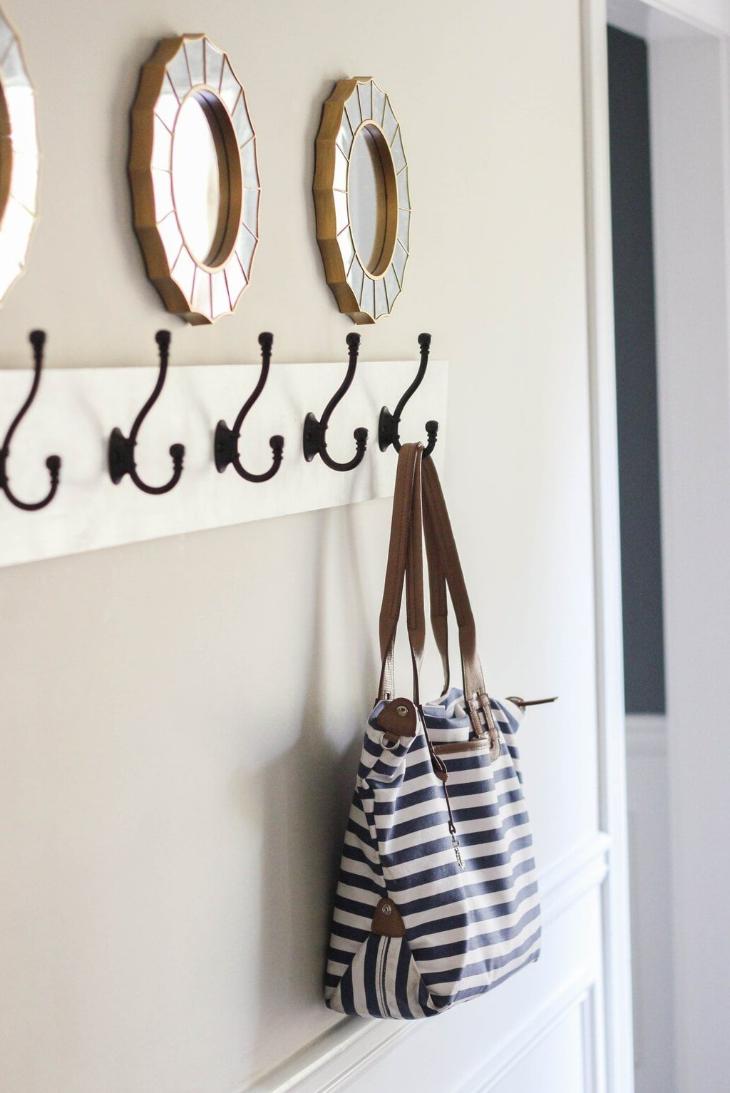 Hooks Rack Cast Mounted Wrought Iron Black Stand Standing Metal Wall With Preferred Coat Rack Wall Mirrors (View 18 of 20)