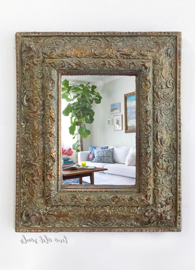 Horizontal Decorative Wall Mirrors For Preferred Wall Mirror, Ready To Hang Ornate Gesso Vertical Decorative, Gold Wall  Decor, Horizontal Foyer Decor, Vintage Glam Vanity (Gallery 6 of 20)