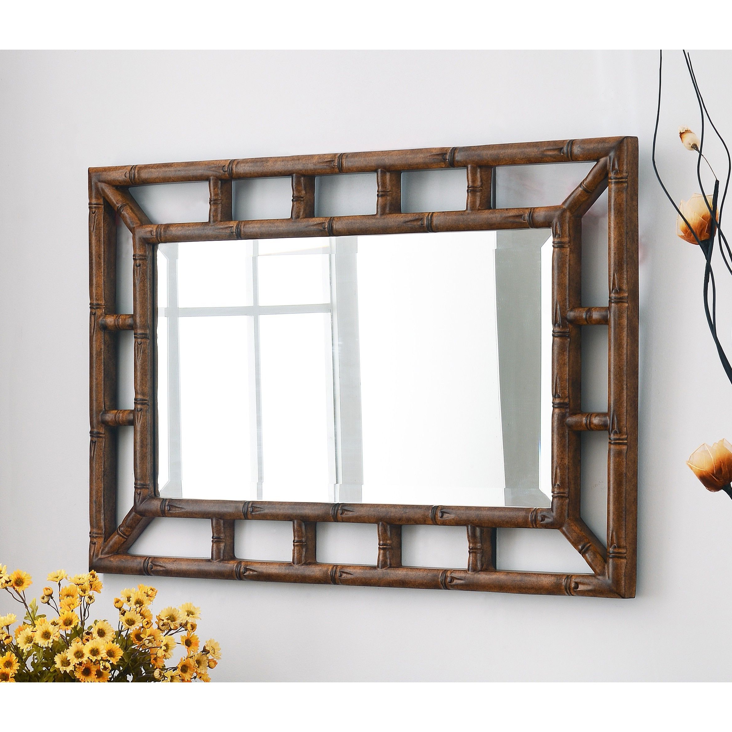 Horizontal Wall Mirrors Within Favorite The Bamboo Wall Mirror Is A Asian Inspired Piece (View 9 of 20)