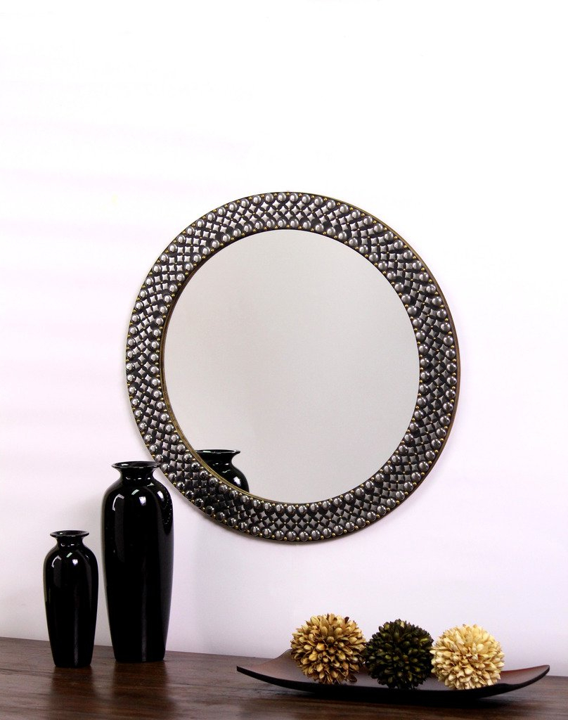 Hosley Decorative Metal Studded Round Wall Mirror, Metallic Silver With 2019 Studded Wall Mirrors (View 7 of 20)