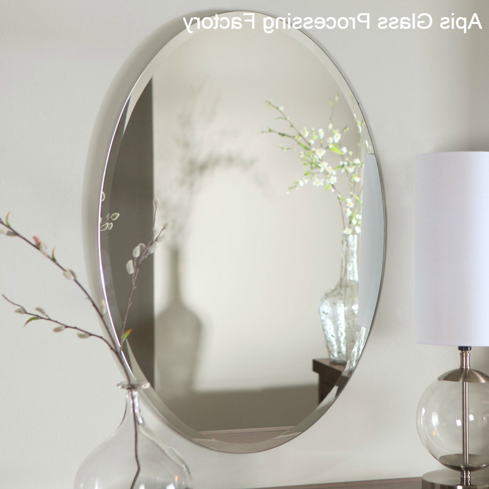"[%[Hot Item] Chamfering 1""beveled Edge Frameless Bathroom Silver/ Tempered Mirror Glass /decorative Wall Mirrors, Round, Oval Mirrors For Most Recently Released Glass Wall Mirrors
