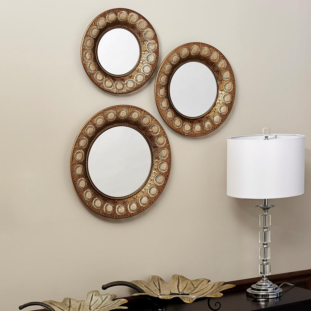 Household Essentials Round Gold Mirror (Set Of 3) In 2019 With Regard To Trendy Set Of 3 Wall Mirrors (View 1 of 20)
