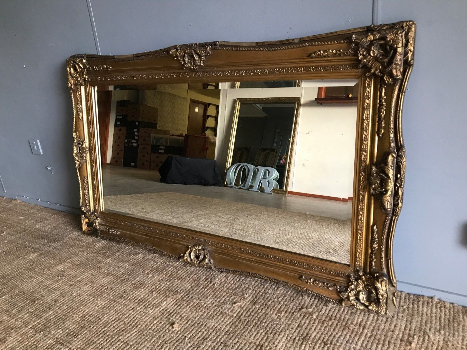 Huge Very Large Ornate Genuine Antique Vintage Gilt Frame Bevelled Wall  Mirror Intended For Best And Newest Very Large Wall Mirrors (Gallery 16 of 20)