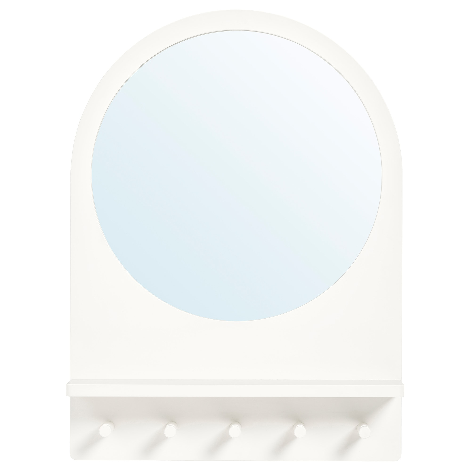 Ikea Round Wall Mirrors In Preferred Saltröd – Mirror With Shelf And Hooks, White (View 14 of 20)