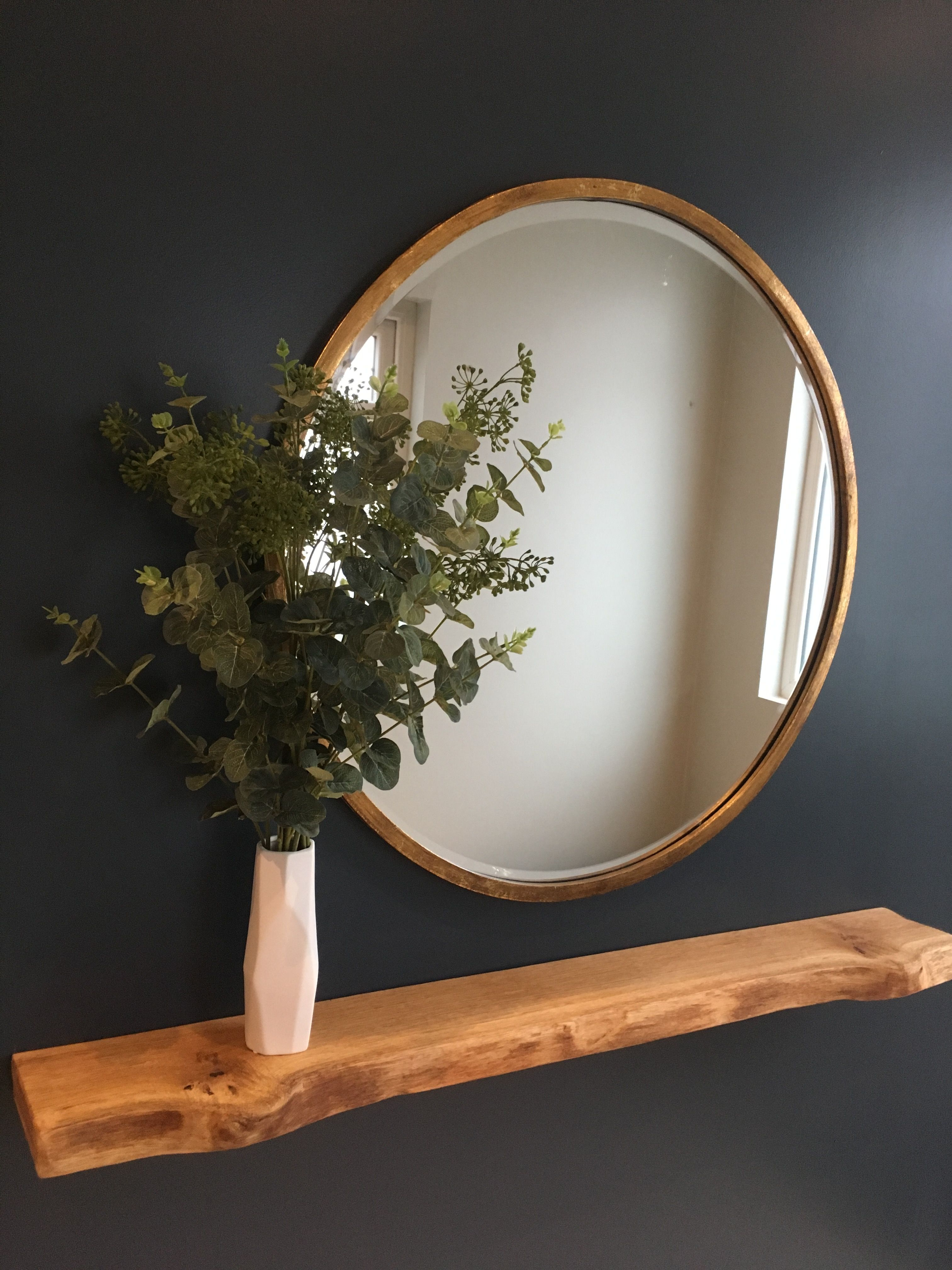 Ikea Round Wall Mirrors Inside Newest Bronze Round Mirror With Eucalyptus Leaves And A Floating Oak Shelf (View 17 of 20)