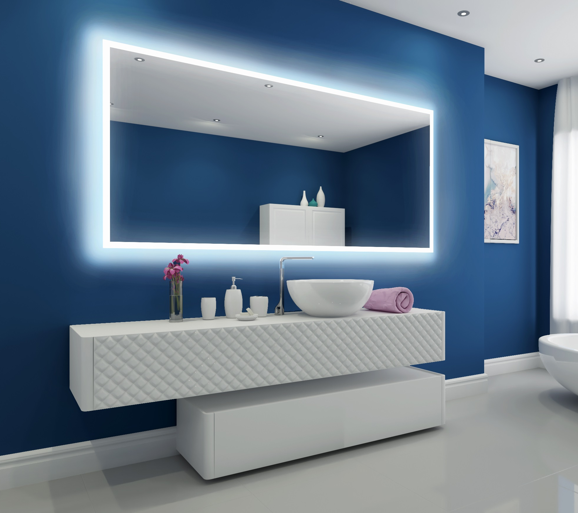 Illuminated Wall Mirrors For Bathroom In Newest Ibmirror – Modern Lighted Bathroom Mirror – Backlit Bathroom Mirror (View 9 of 20)