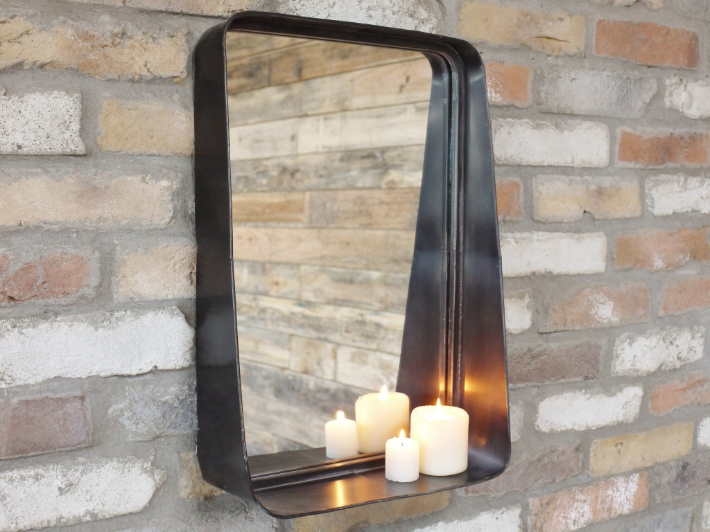 Industrial Black Painted Metal Wall Mirror With Regard To 2019 Industrial Wall Mirrors (View 8 of 20)