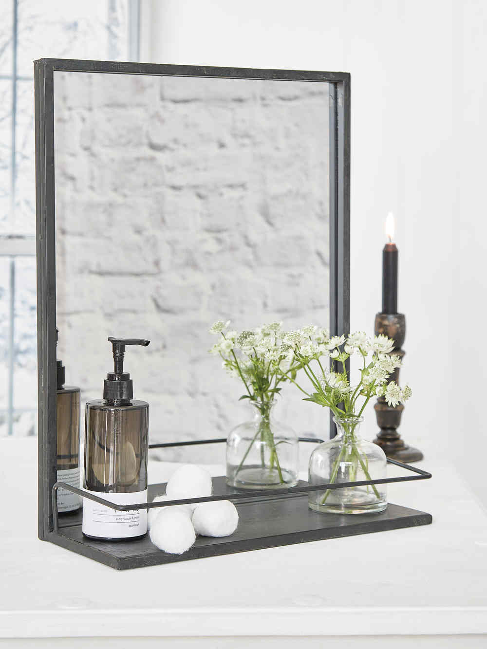 Industrial Metal Shelf Mirror Pertaining To Famous Wall Mirrors With Shelf (View 13 of 20)