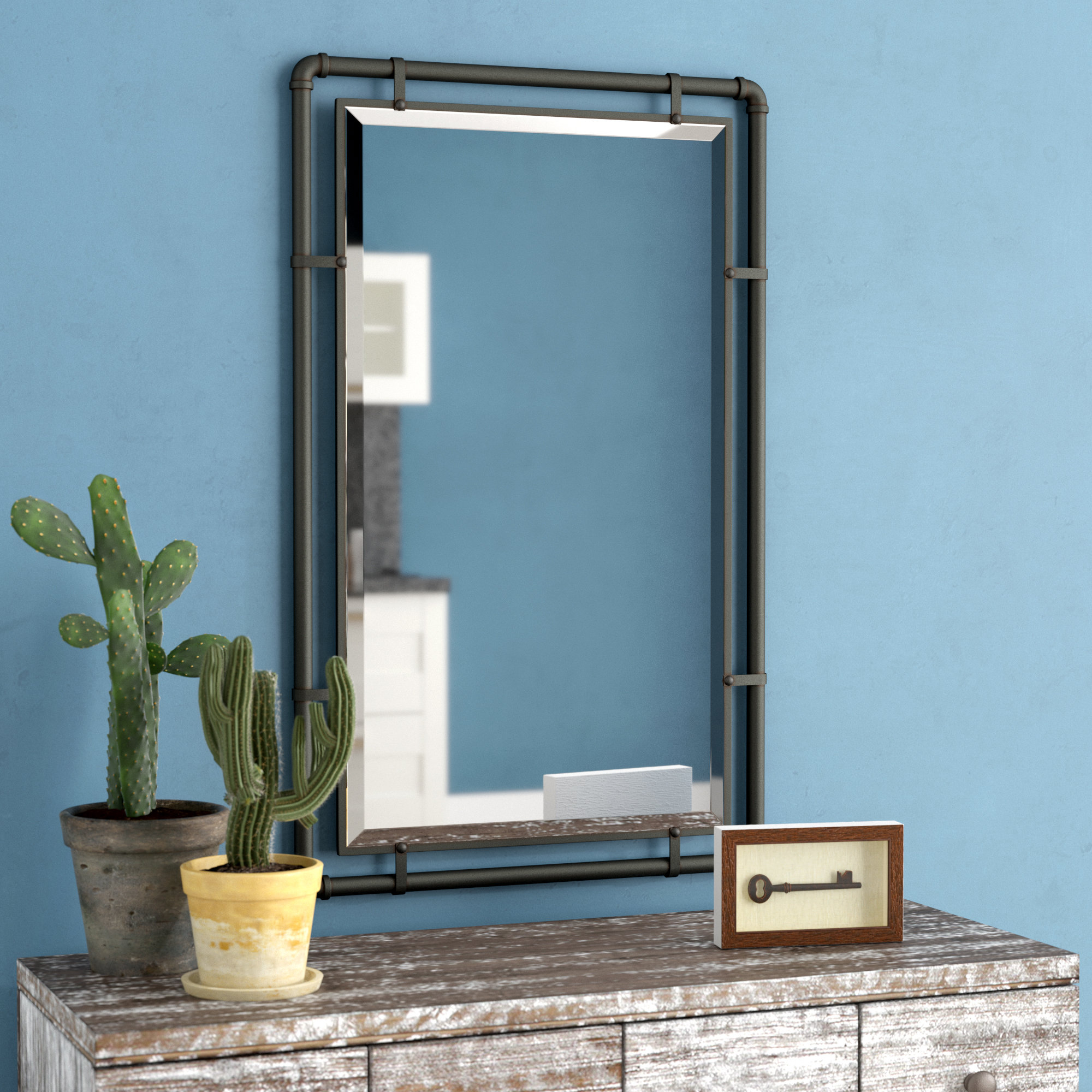 Industrial Wall Mirrors In Fashionable Koeller Industrial Metal Wall Mirror (View 9 of 20)
