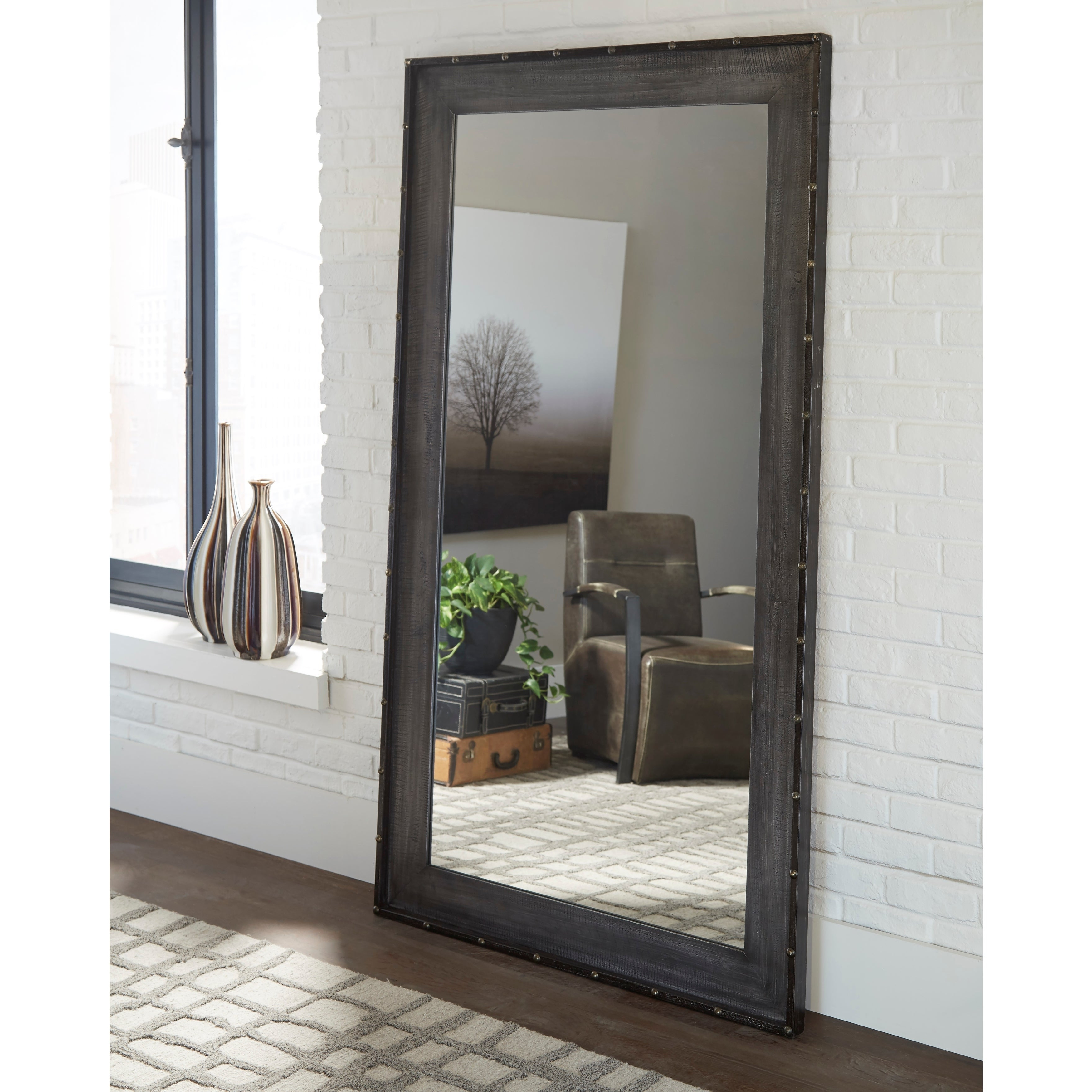 Industrial Wall Mirrors Intended For Famous Coaster Industrial Wall Mirror – Brown (View 10 of 20)