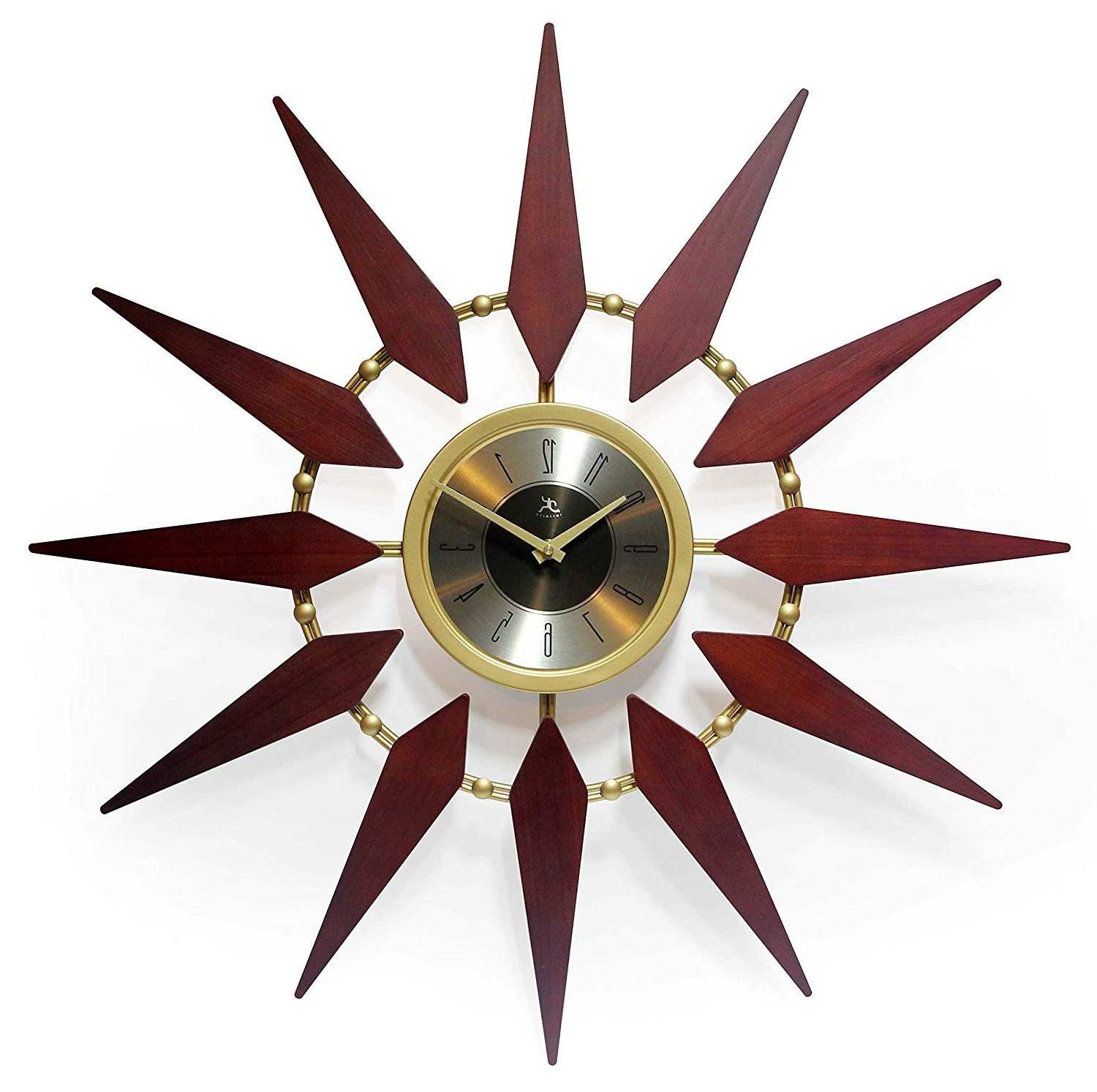 Infinity Instruments Orion 30 Inch Walnut Mid Century Modern Starburst Wall  Clock Within Famous Orion Starburst Wall Mirrors (Gallery 8 of 20)