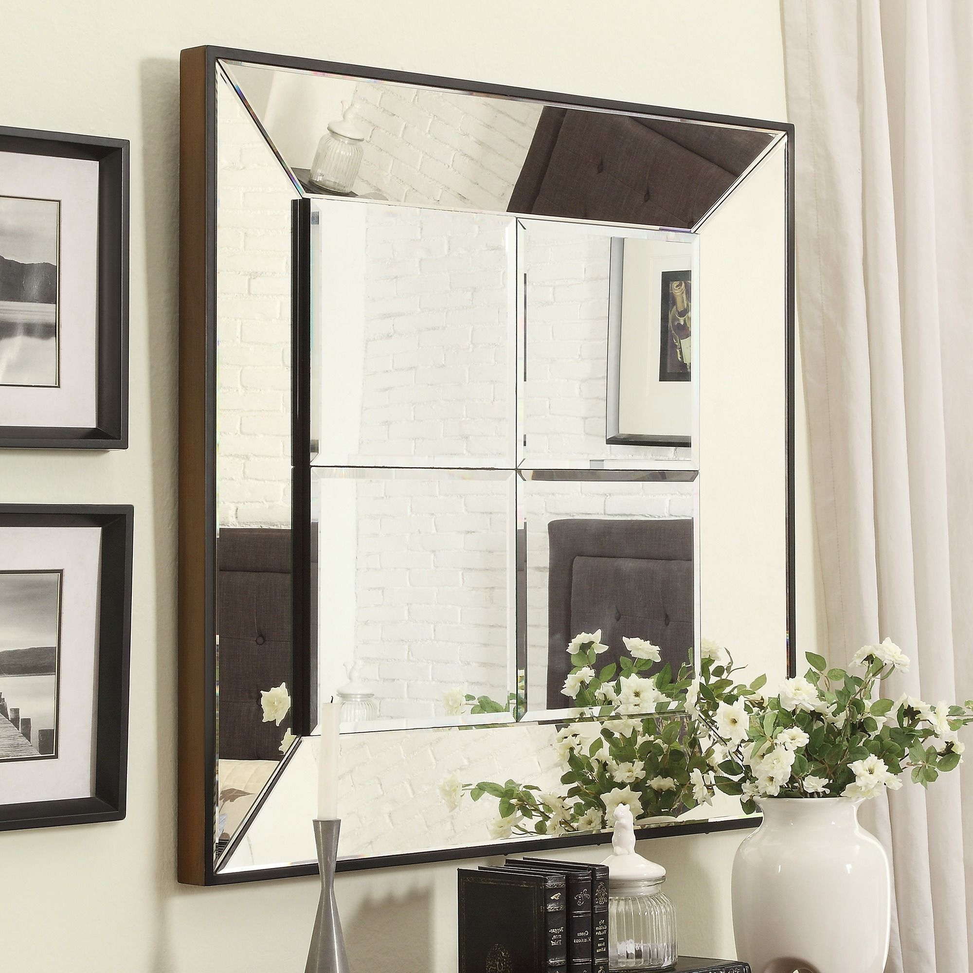 Inspire Q Dubois Beveled Multipanel Square Accent Wall Mirror Inside Trendy Accent Wall Mirrors (View 11 of 20)