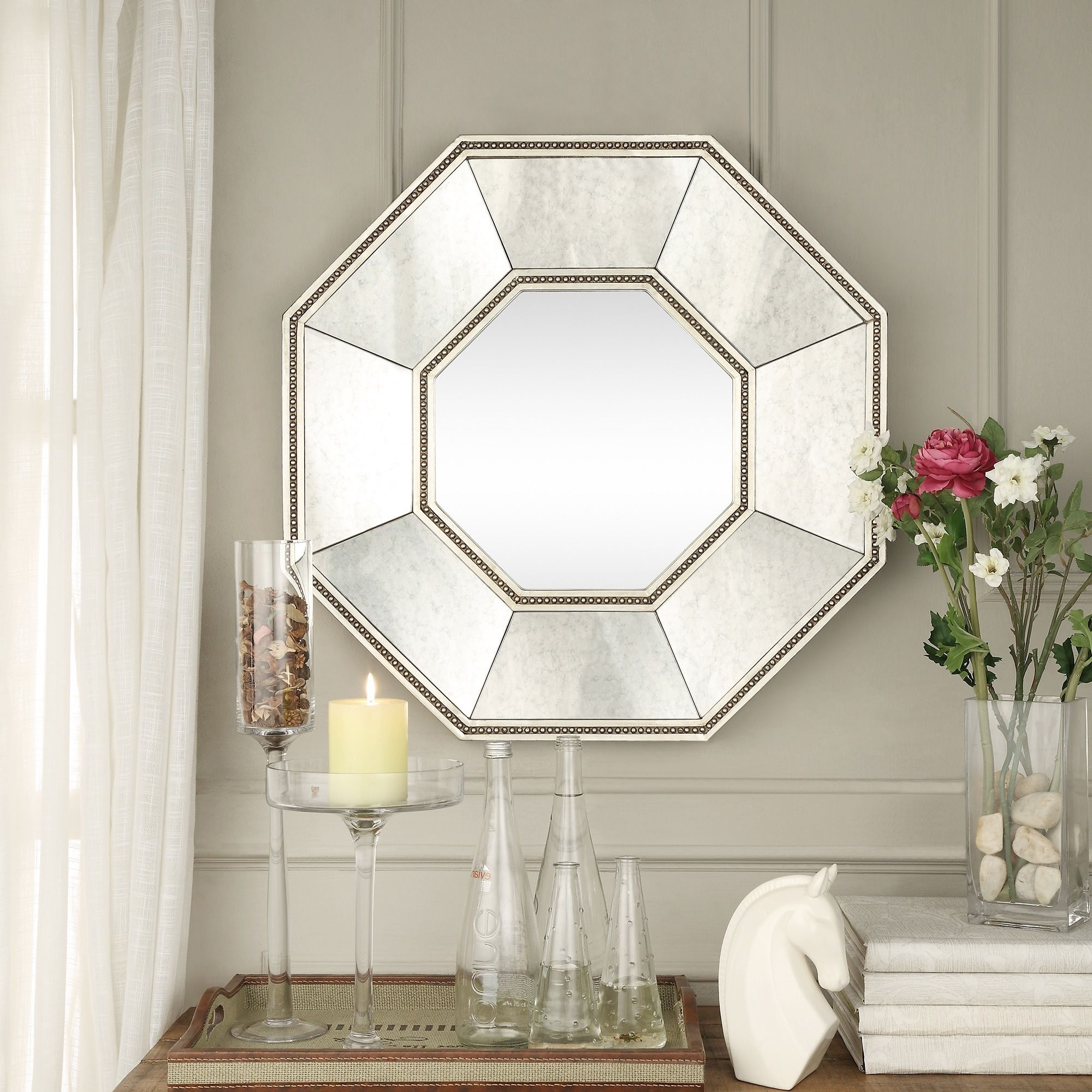 Inspire Q Faceted Beveled Beaded Trim Octagon Accent Wall Mirror In Most Recent Beaded Accent Wall Mirrors (View 13 of 20)