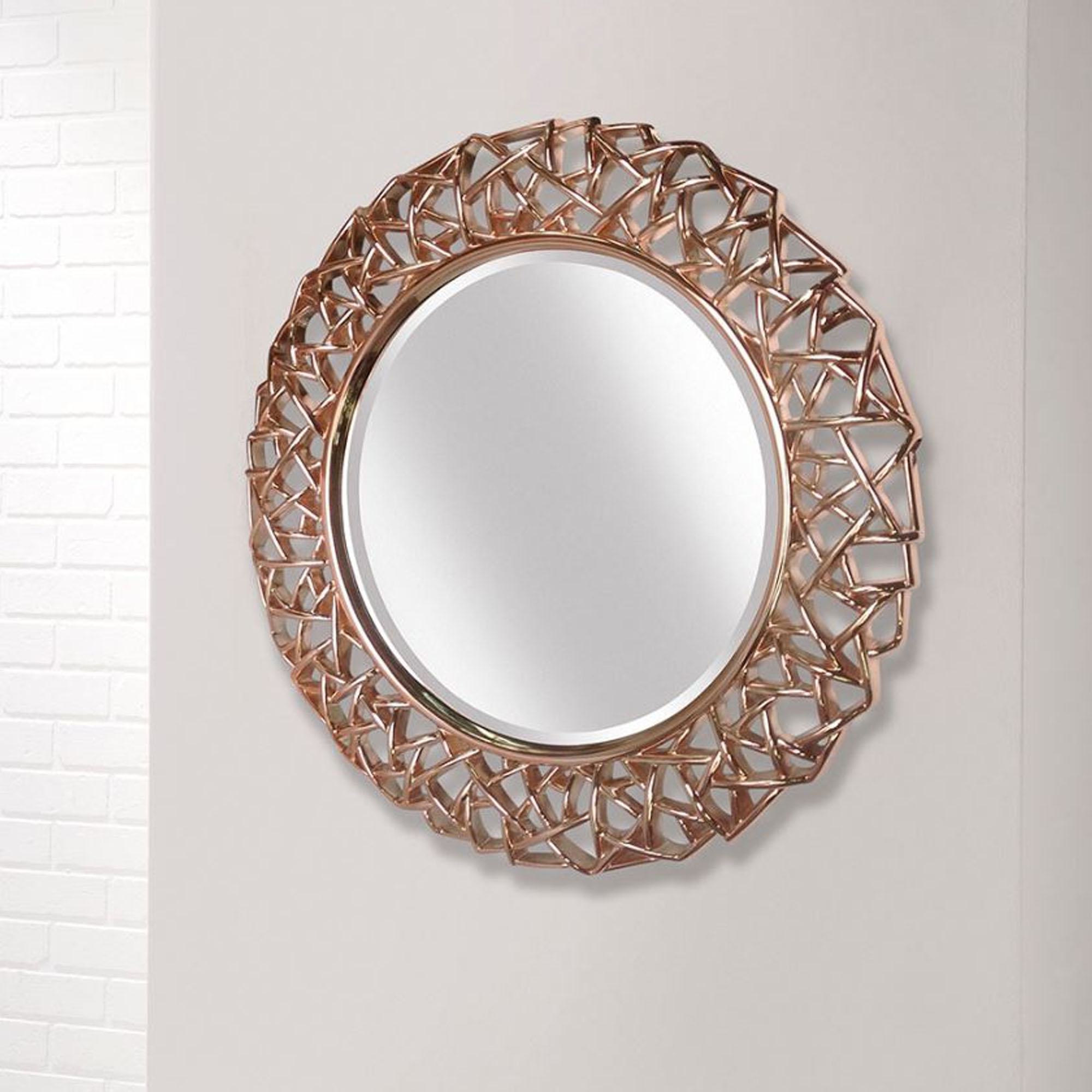 Intricate Rose Gold Round Modern Wall Mirror Pertaining To Fashionable Gold Wall Mirrors (View 12 of 20)